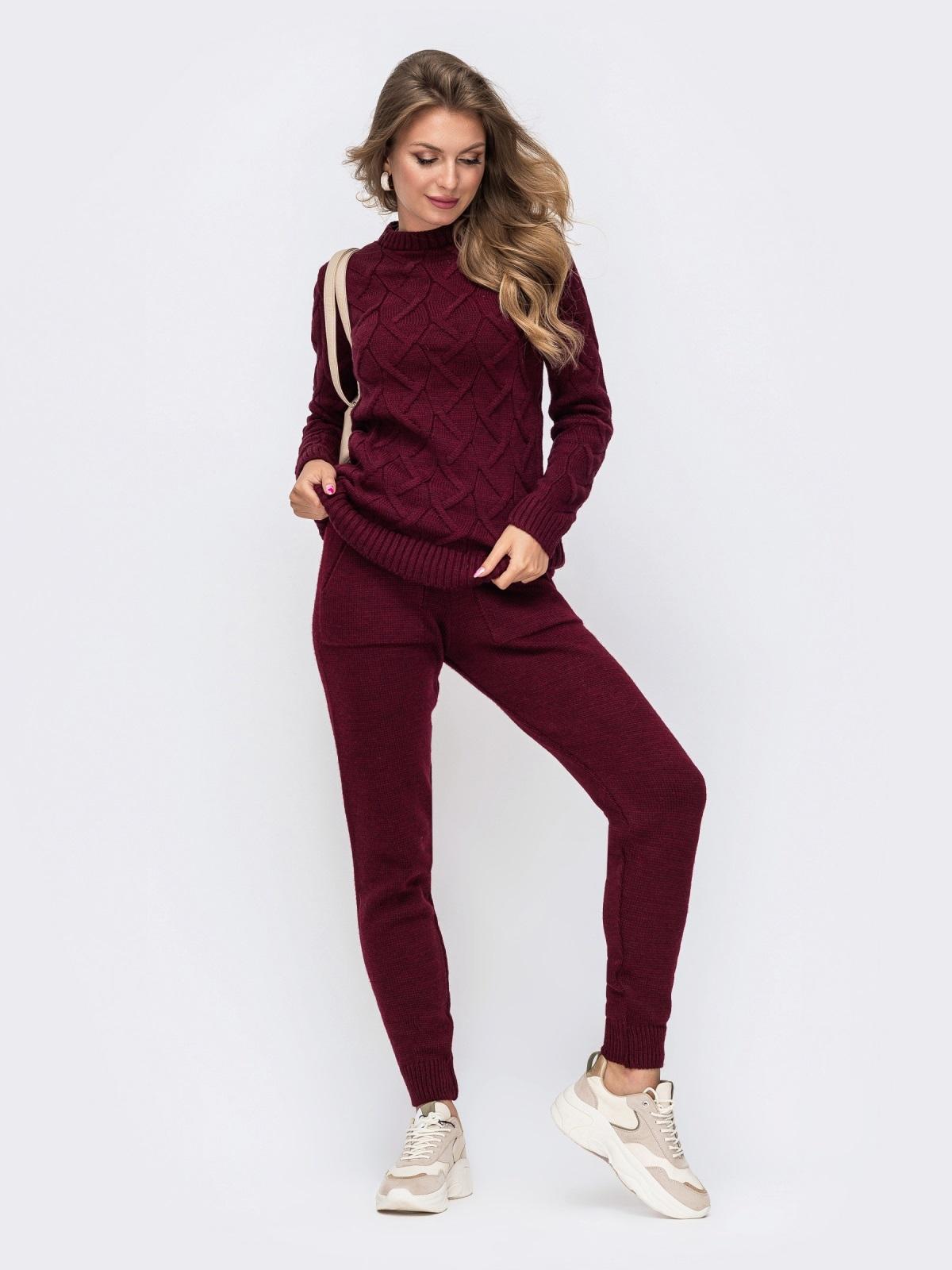 Вязаный комплект из свитера и брюк бордовый 50185, фото 1