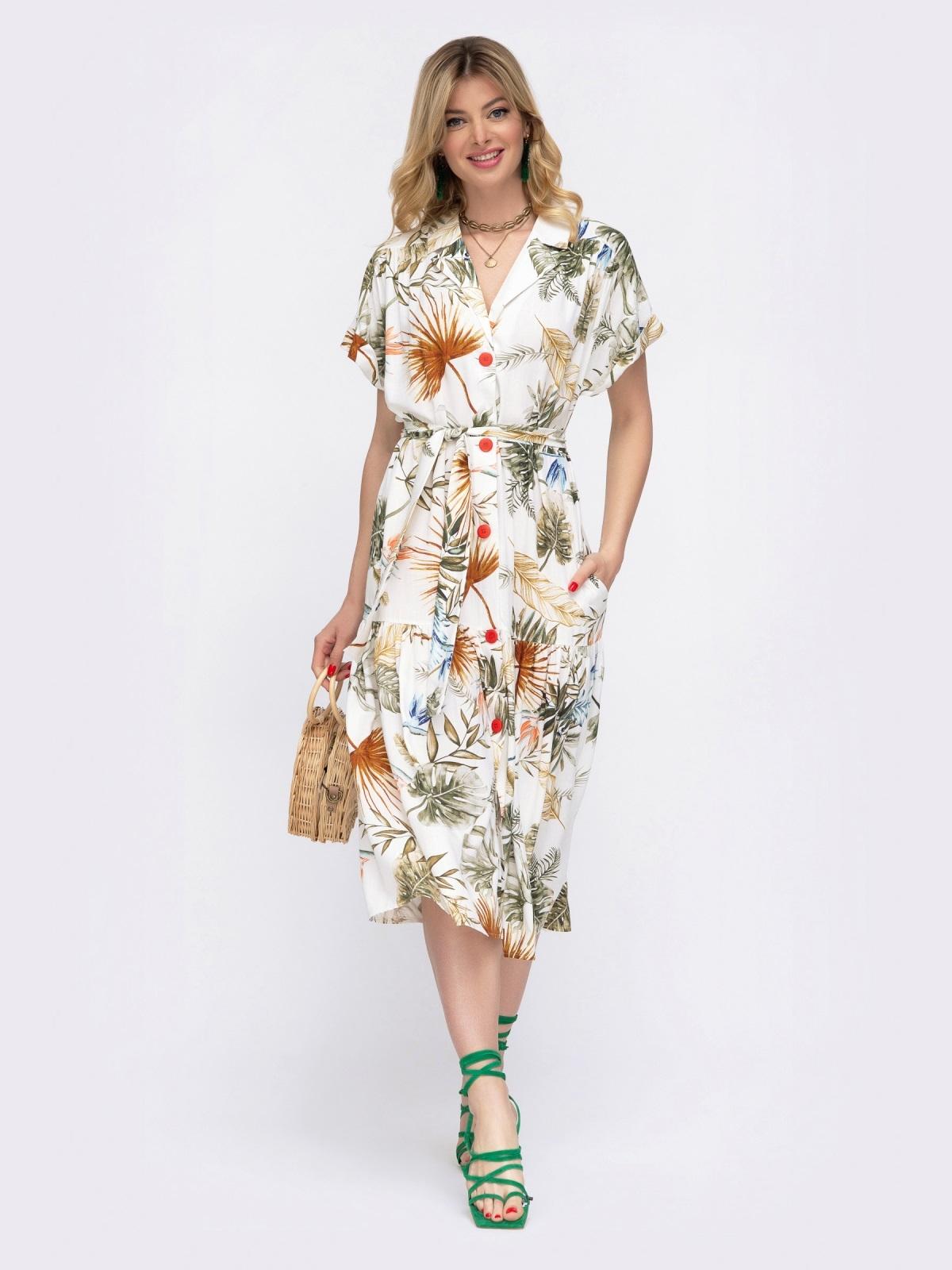 Белое платье в цветочный принт свободного кроя  48047, фото 1