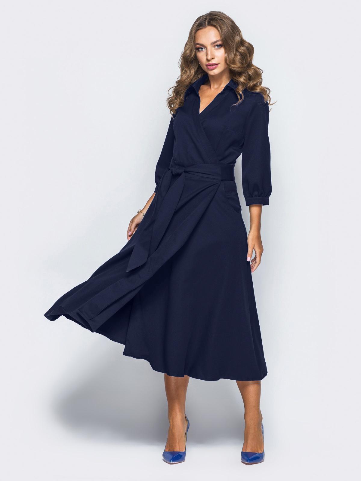 Платье-халат синего цвета с отложным воротником 16476, фото 1