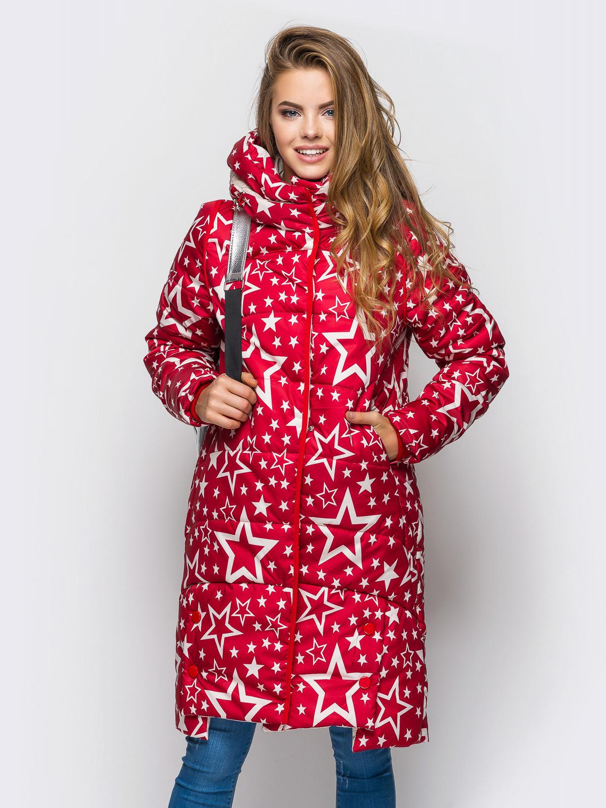 """Зимняя куртка красного цвета с принтом """"звезды"""" 15205, фото 1"""
