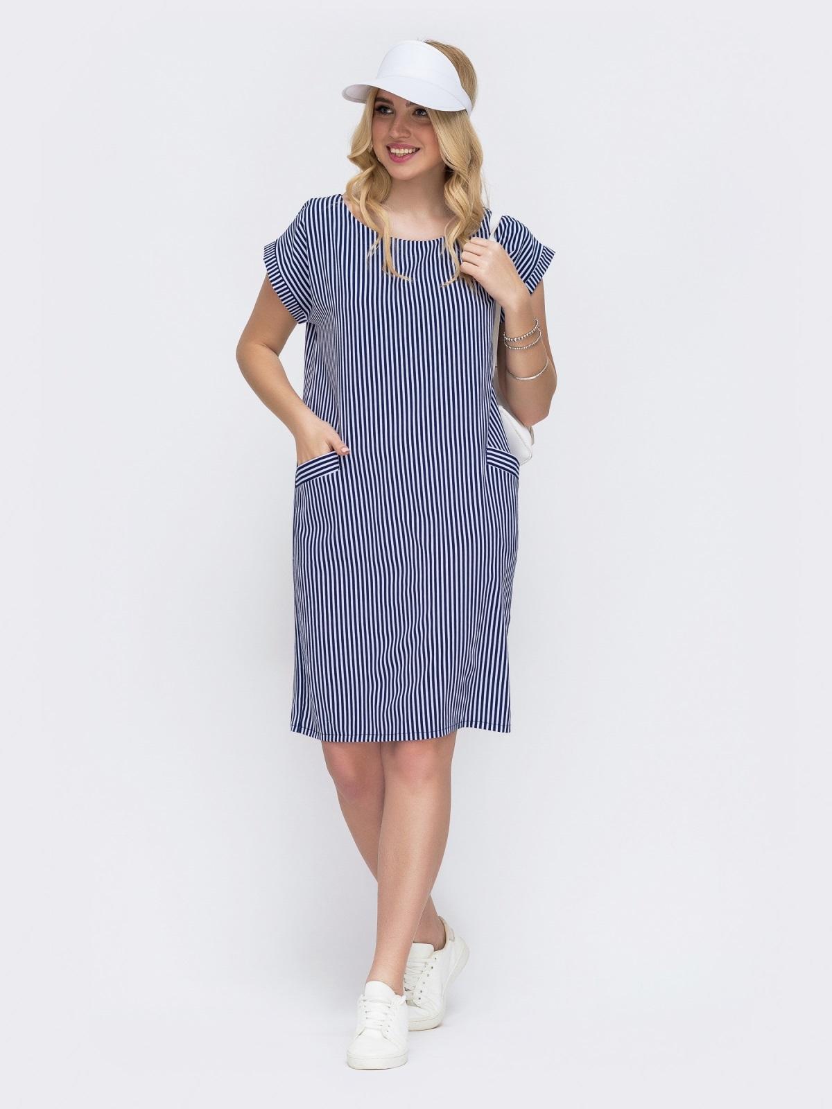 Темно-синее платье батал прямого кроя в полоску 49291, фото 1
