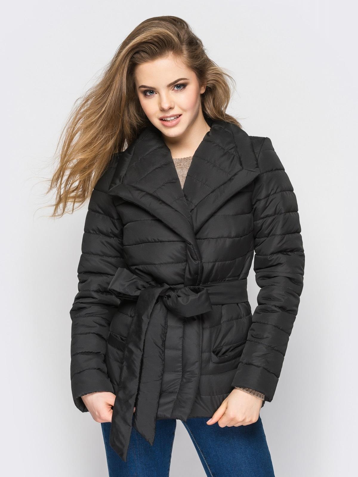 Черная куртка с потайными кнопками на полочке 12942, фото 1