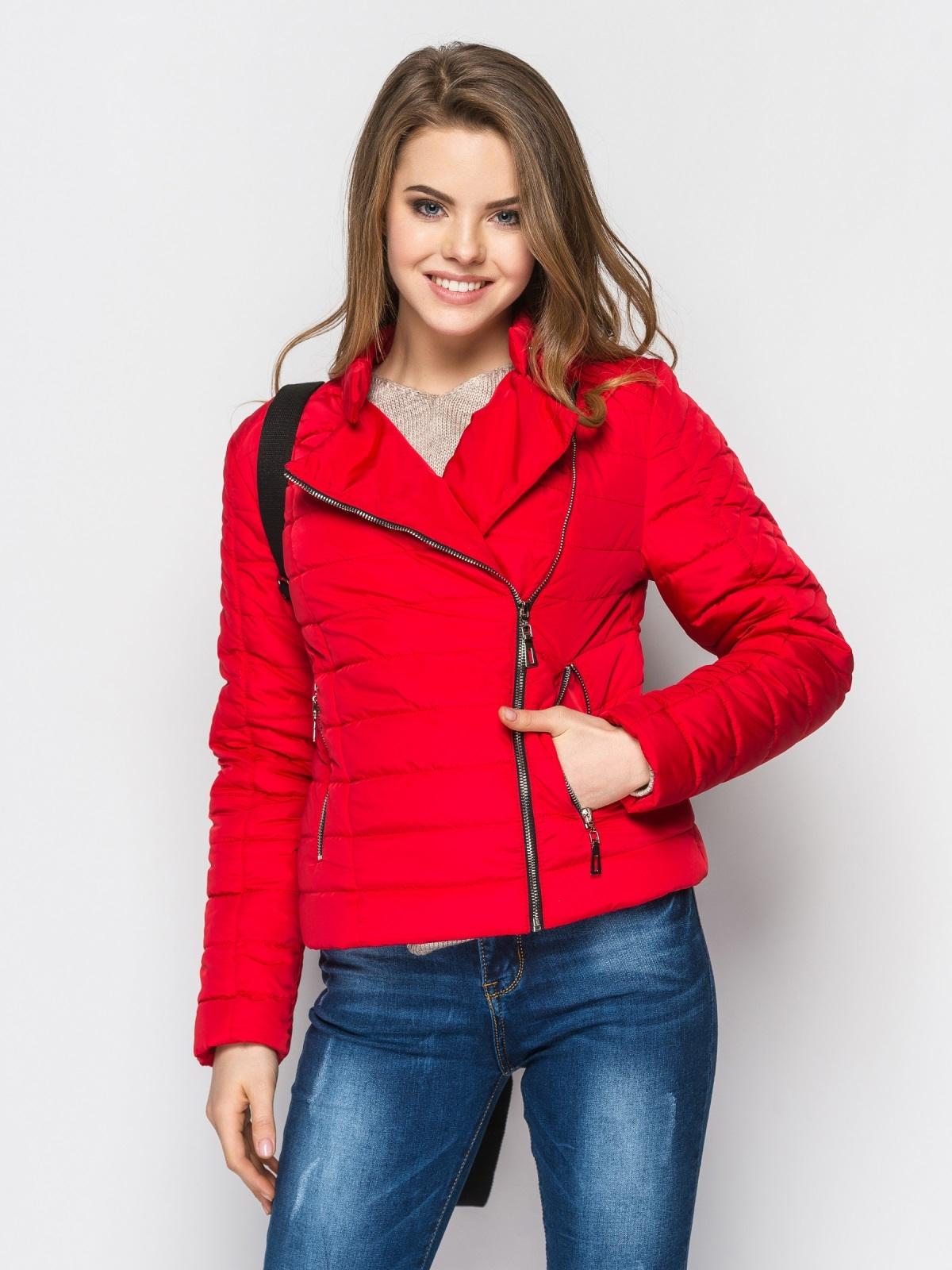 Укороченная куртка с асимметричной молнии красная 22811, фото 1