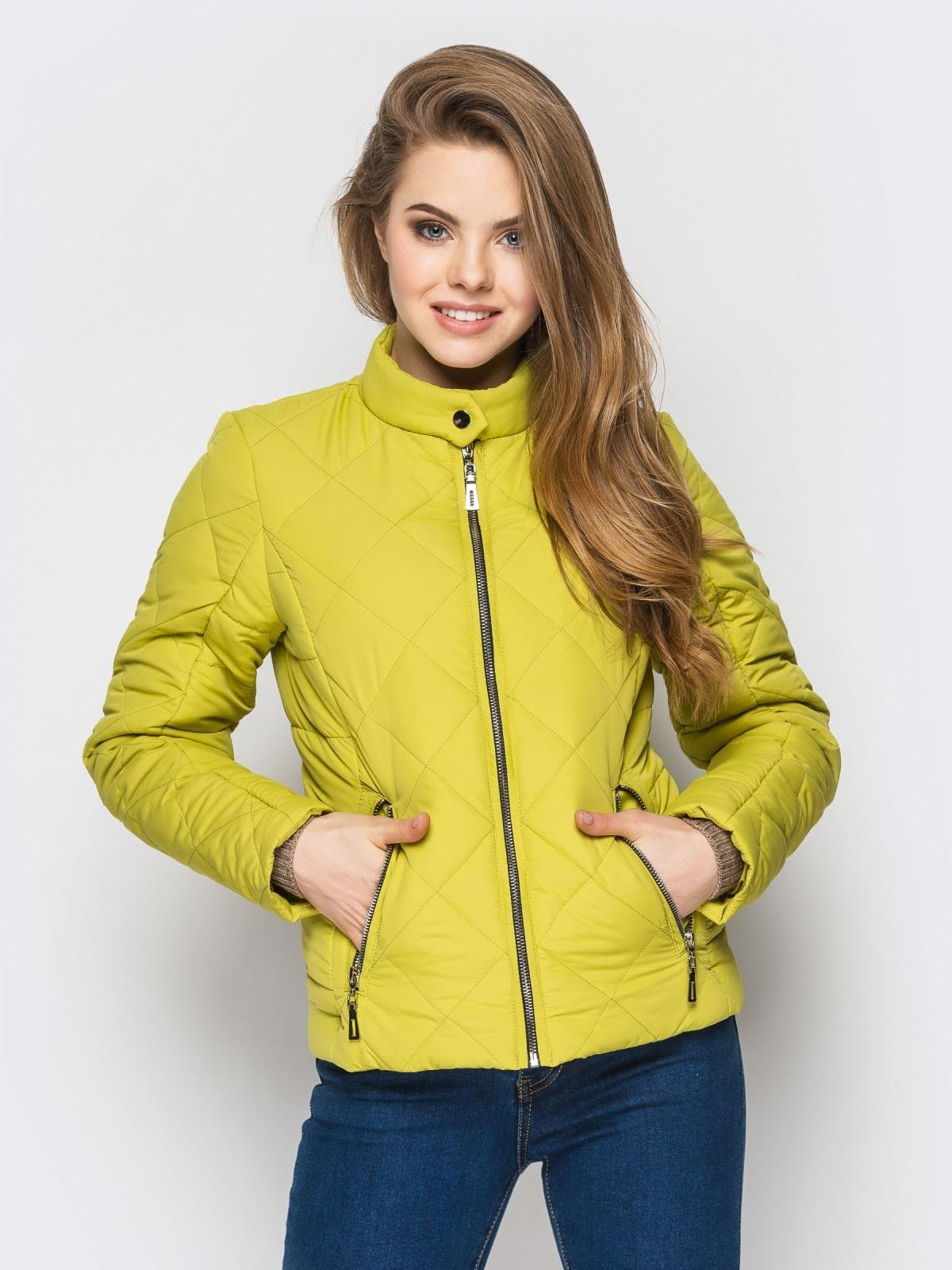 Зелёная куртка с воротником на кнопке 12933, фото 1