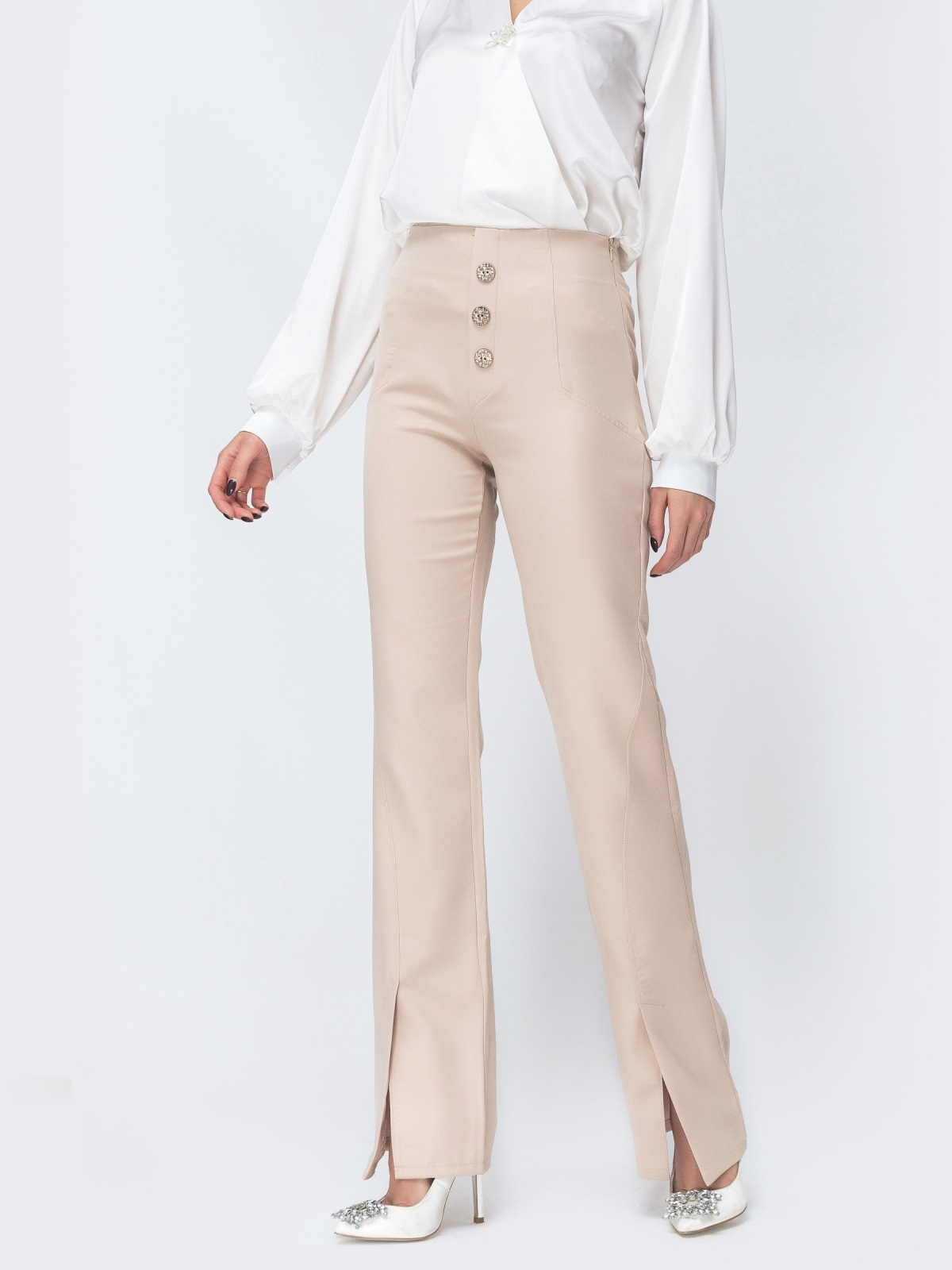 Бежевые брюки-клёш с разрезами по низу 44118, фото 1