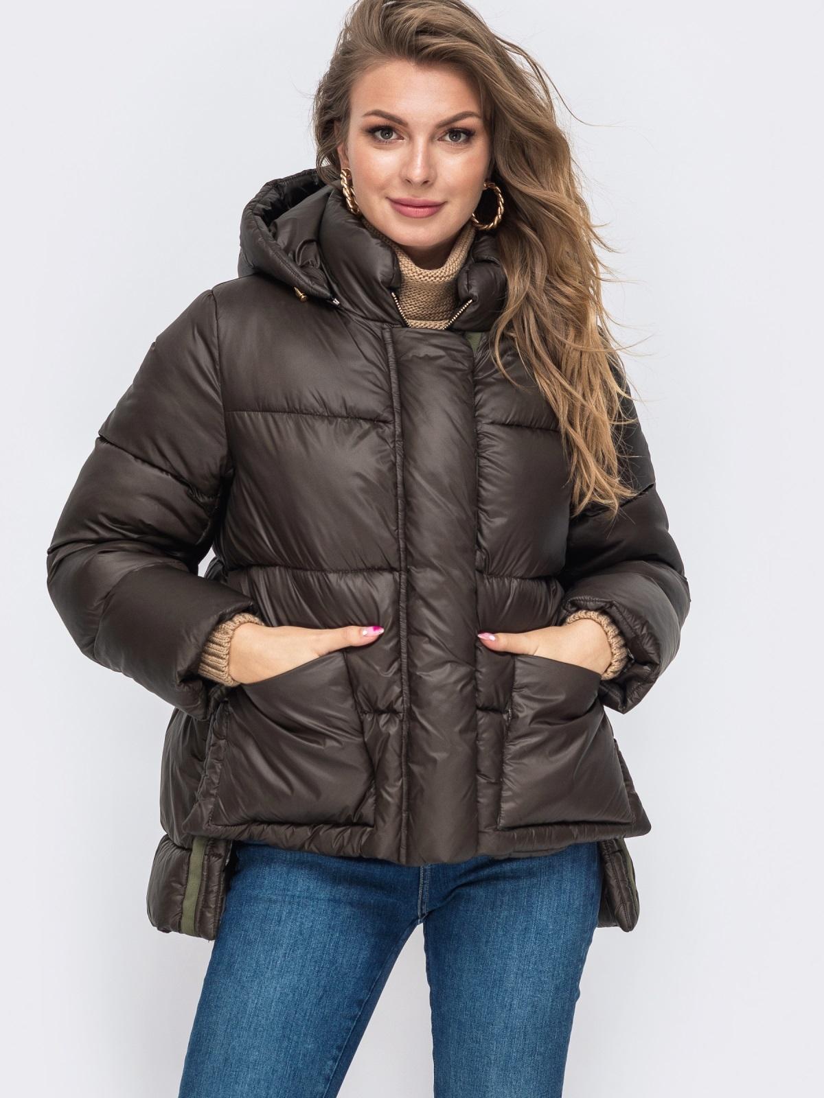 Зимняя куртка с воротником-стойкой и капюшоном коричневая 50221, фото 1