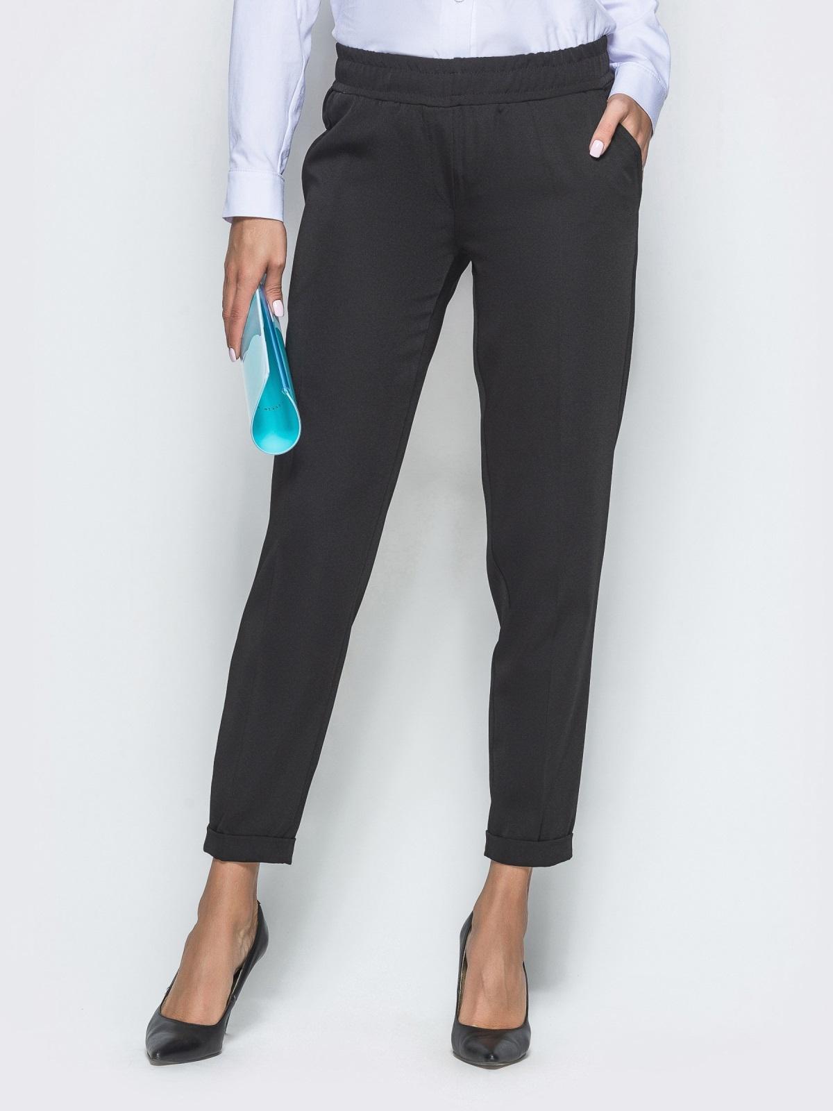 Укороченные брюки с резинкой по талии чёрные 39780, фото 1