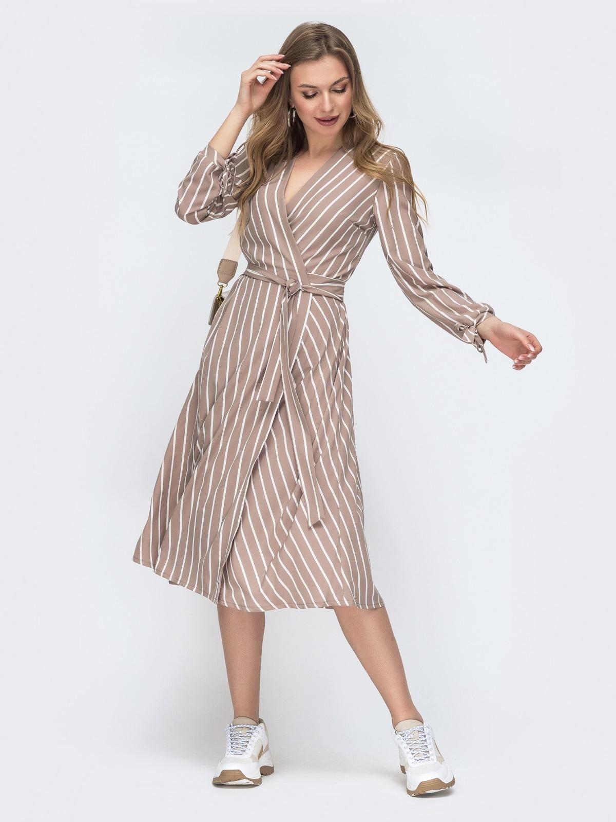 Бежевое платье на запах в полоску 45541, фото 1