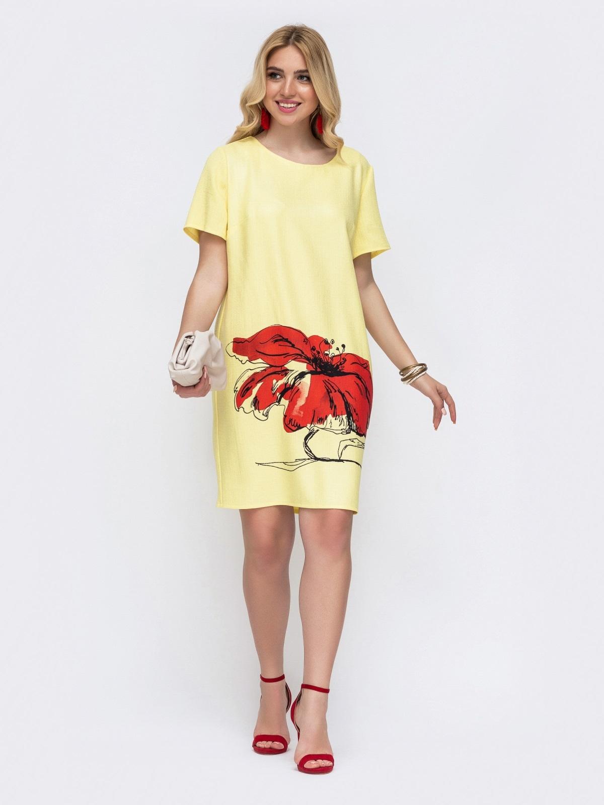 Жёлтое платье батал приталенного кроя с принтом 49059, фото 1