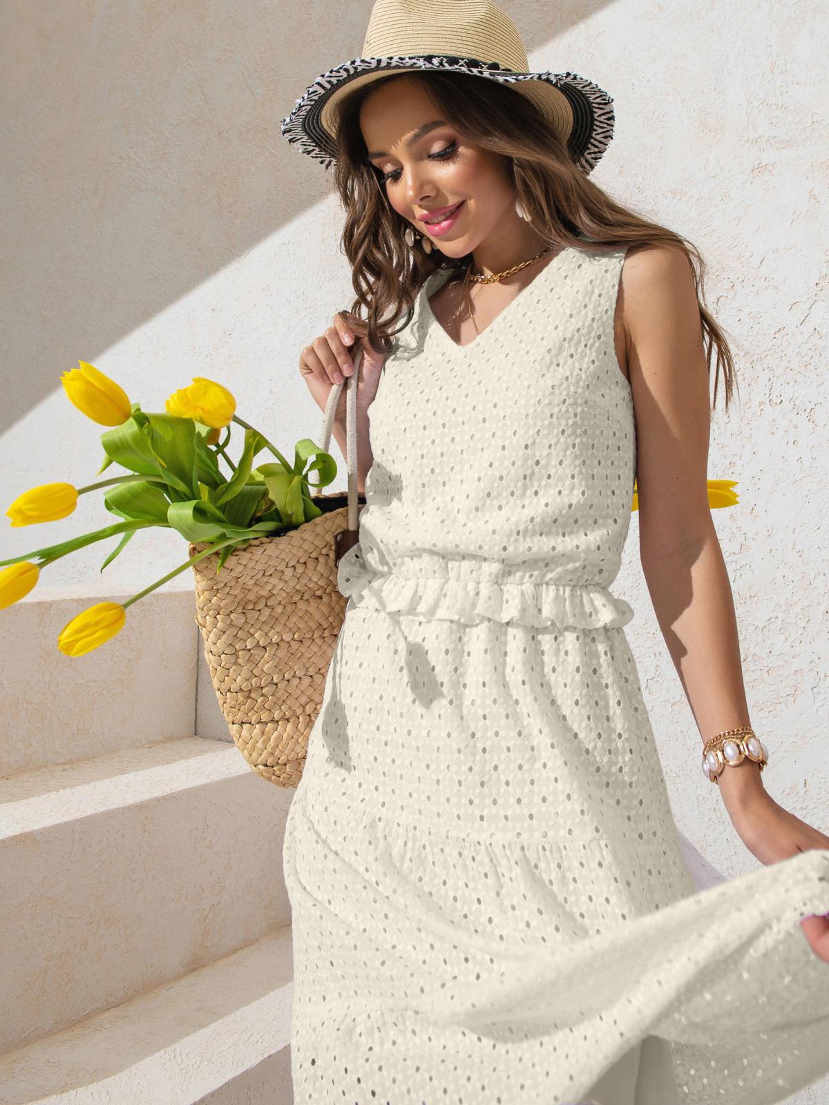 Платье из прошвы молочного цвета с многоярусной юбкой 50151, фото 1