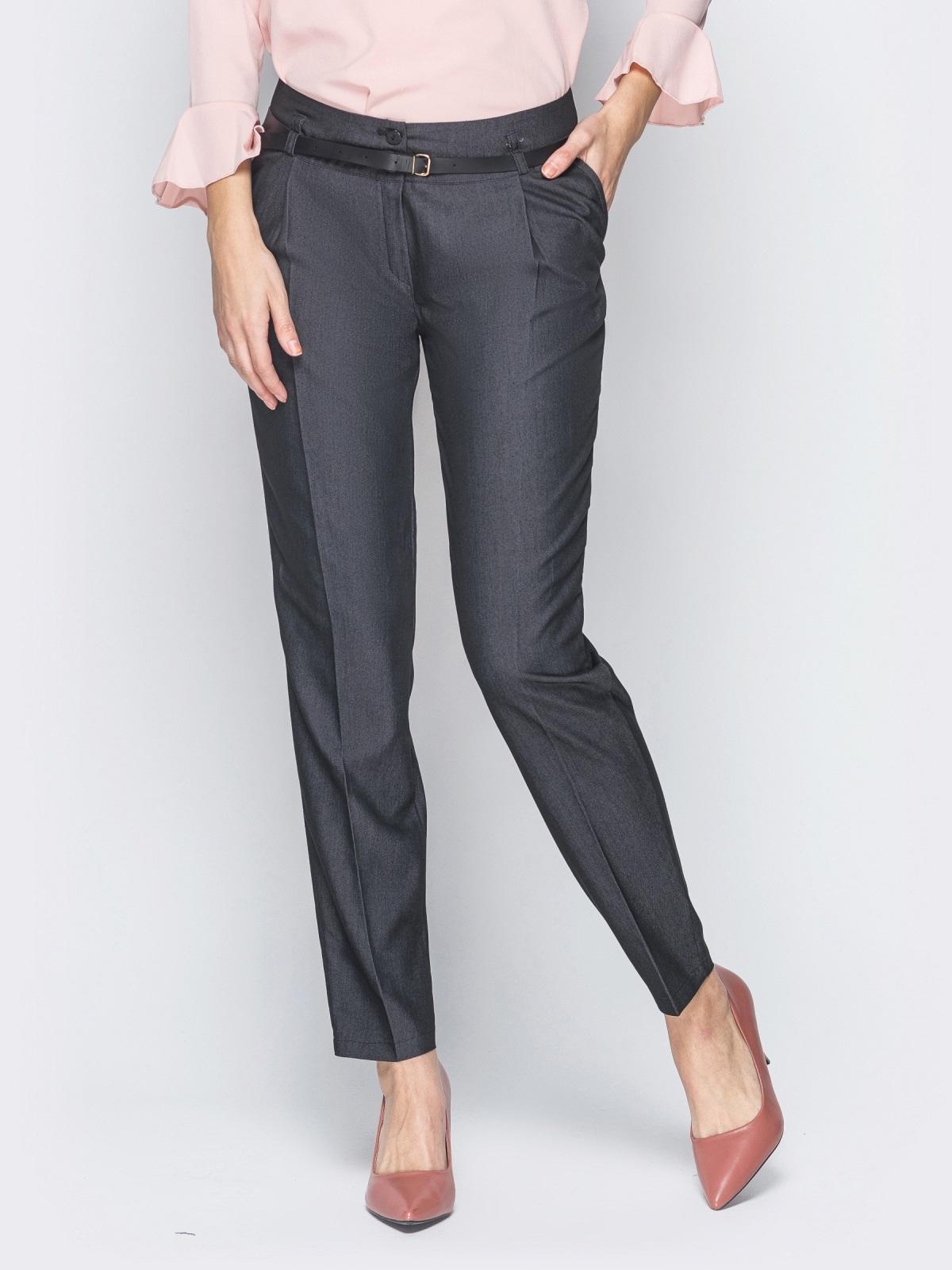 Серые брюки со стрелками и кожаным ремешком в комплекте 18865, фото 1