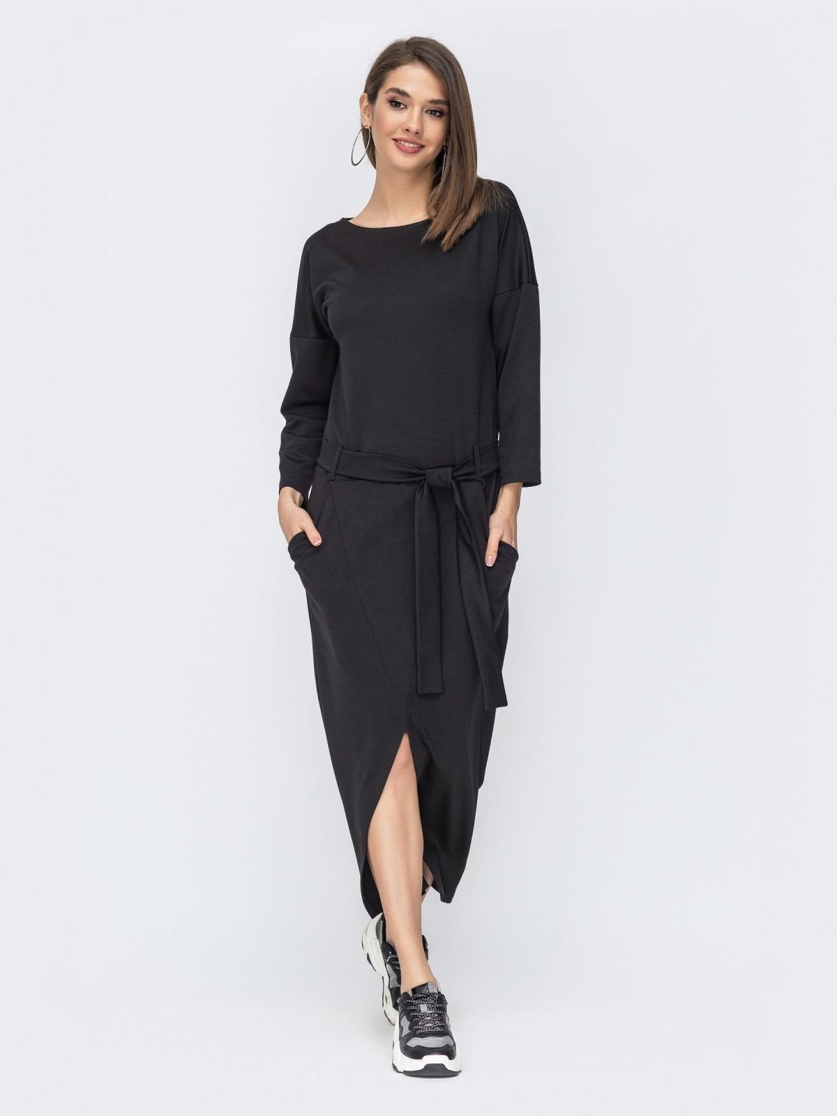 """Чёрное платье с рукавом """"летучая мышь"""" 44199, фото 1"""