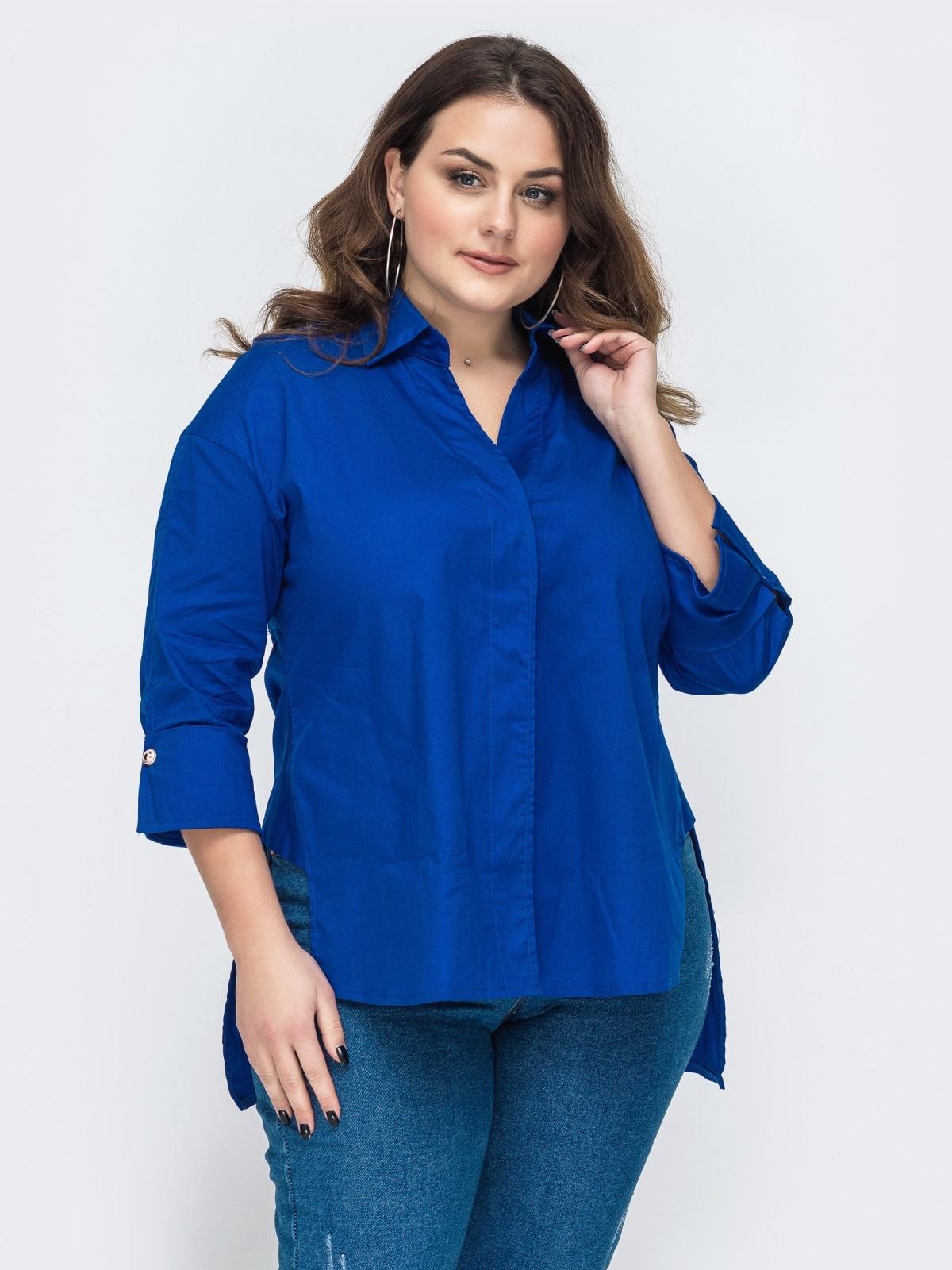 Рубашка батал свободного кроя с удлиненной спинкой синяя 47753, фото 1