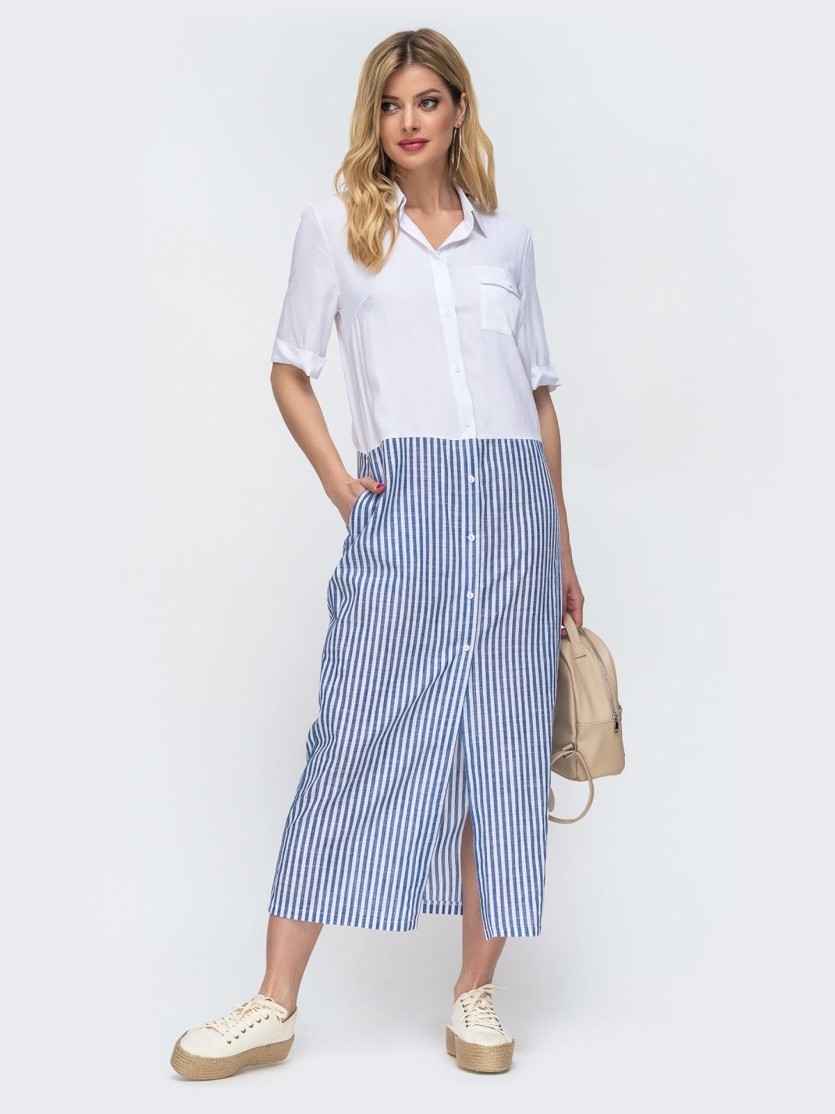 Белое платье-рубашка в узкую синюю полоску по низу 46812, фото 1