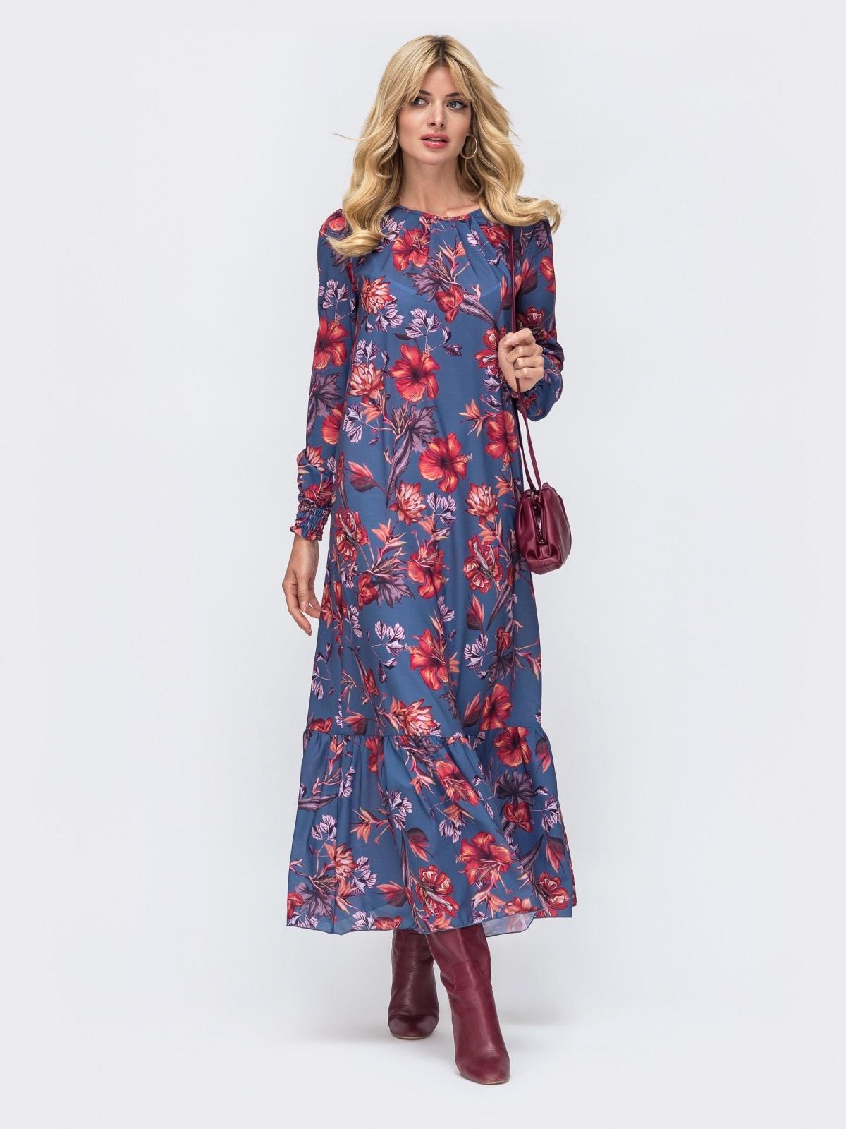 Длинное платье из шифона синего цвета с принтом 50147, фото 1