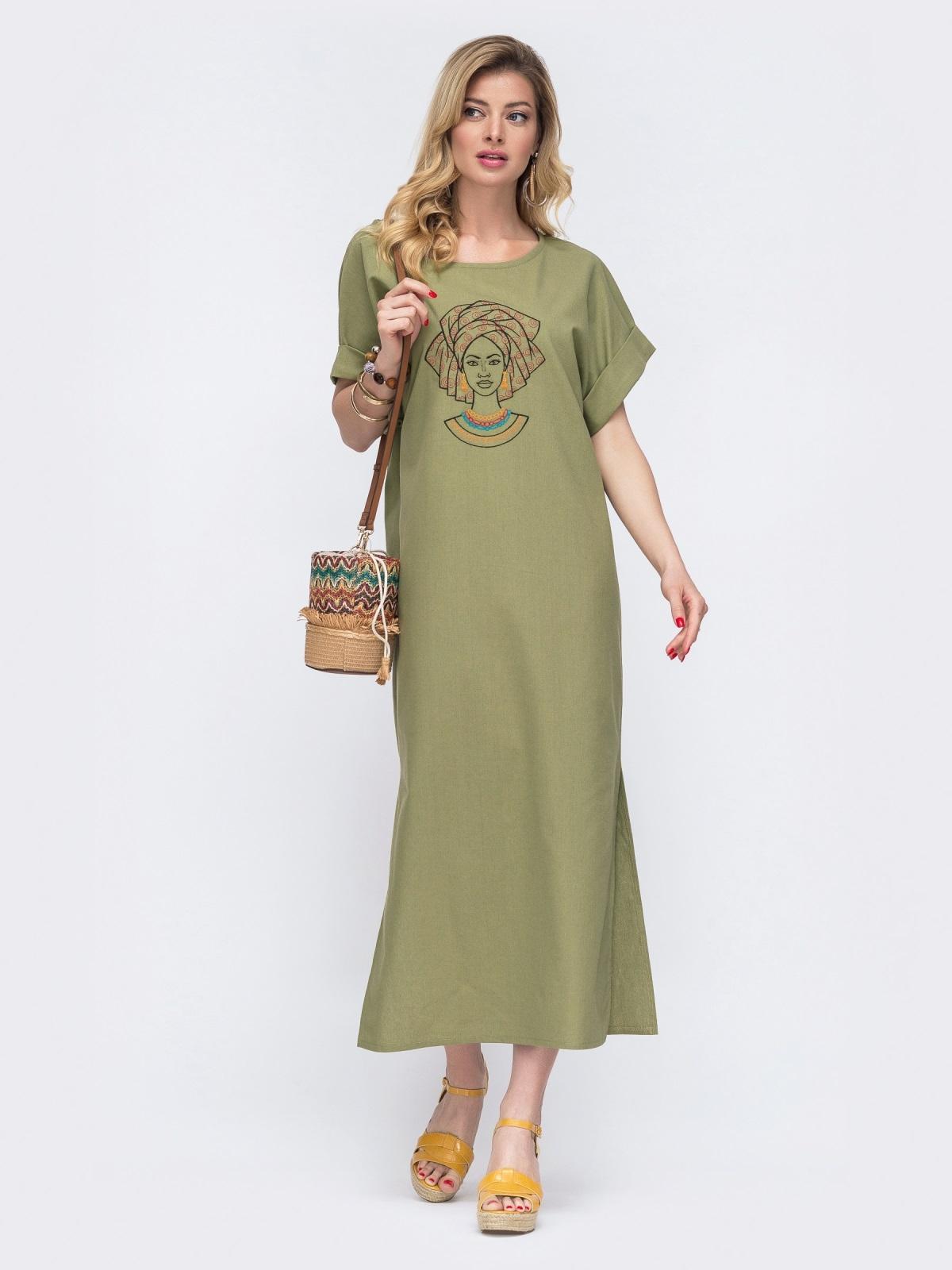 Длинное платье из льна с вышивкой на полочке хаки 48163, фото 1