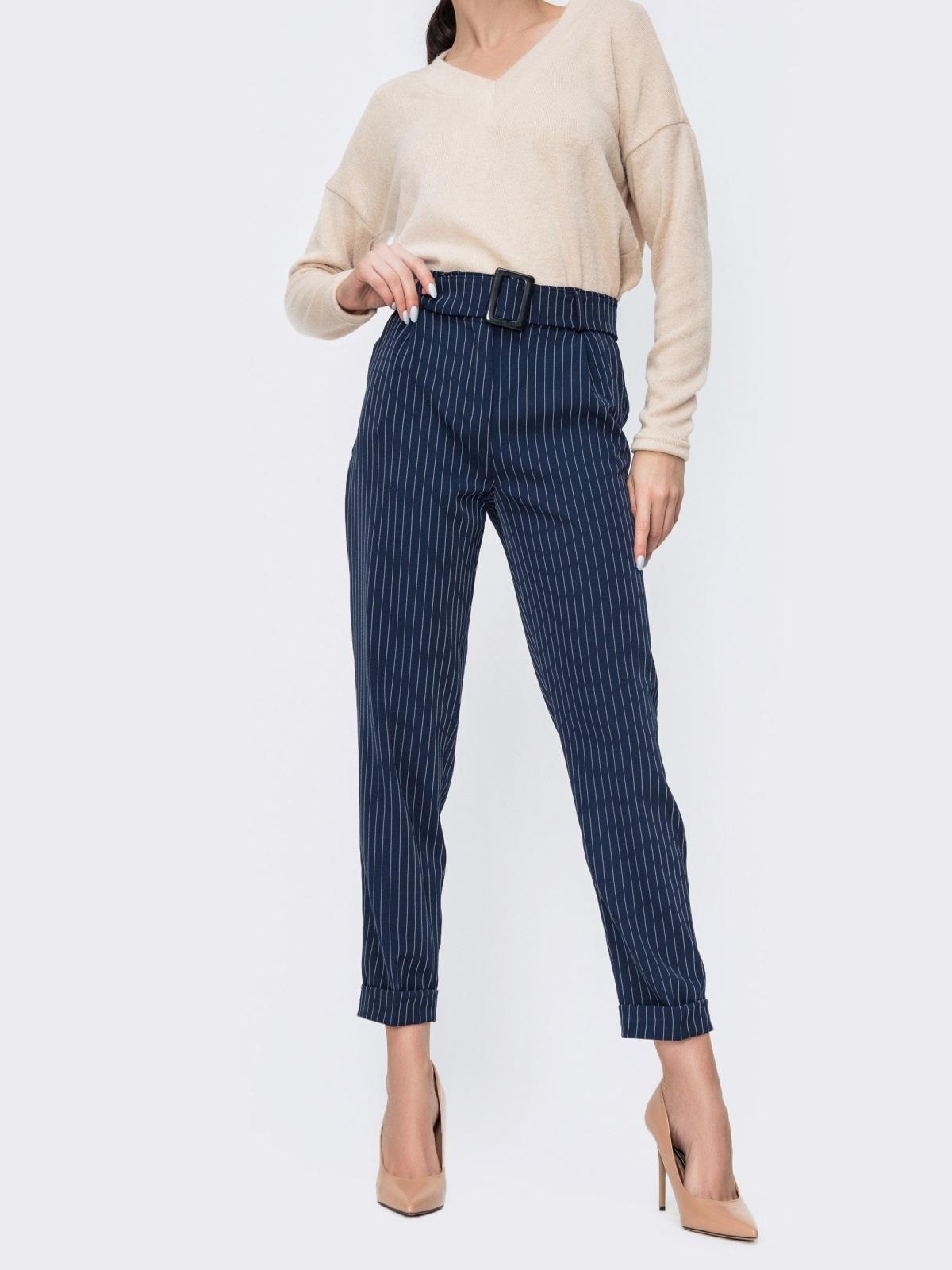 Зауженные брюки в полоску тёмно-синие 45031, фото 1