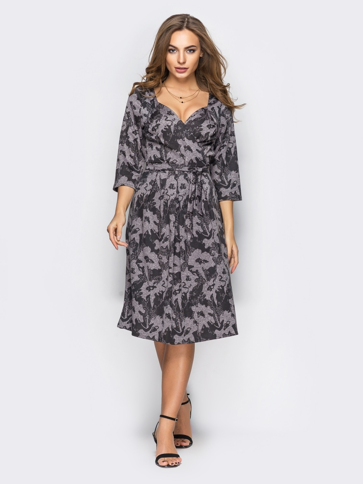Бежевое платье на запах с принтом 13663, фото 1