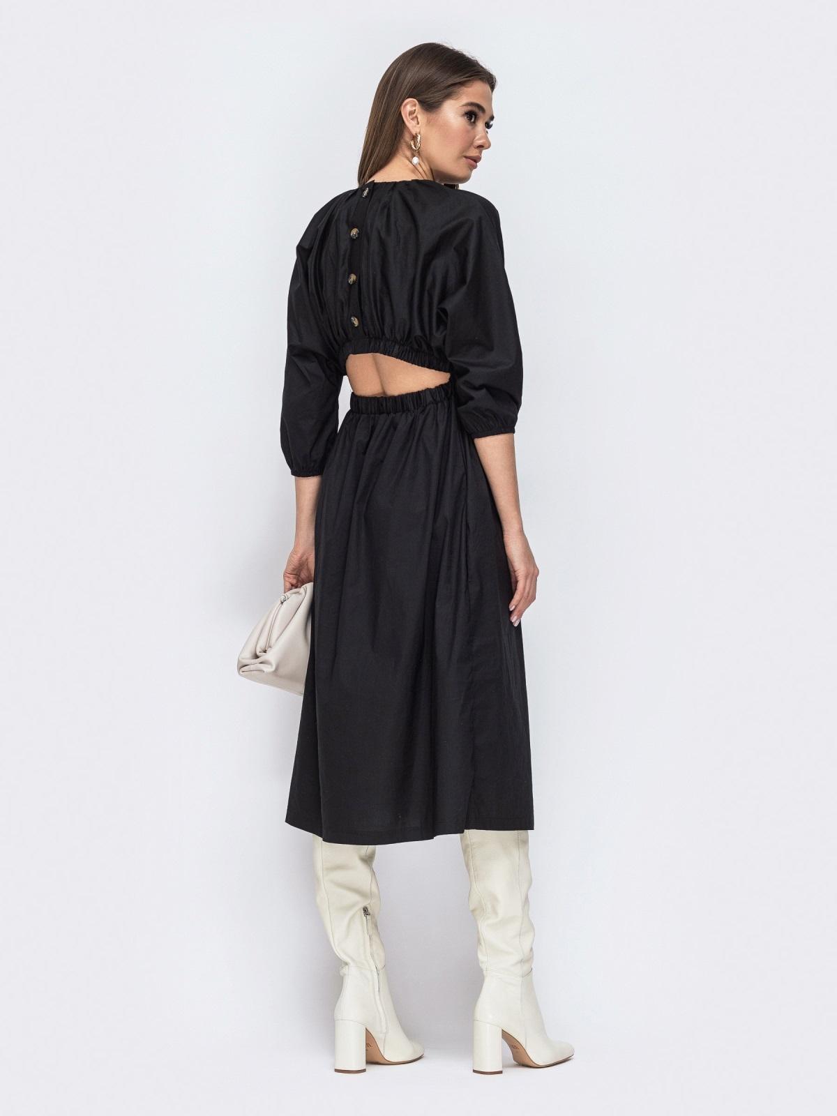 Чёрное платье из хлопка с резинкой по талии 44785, фото 1