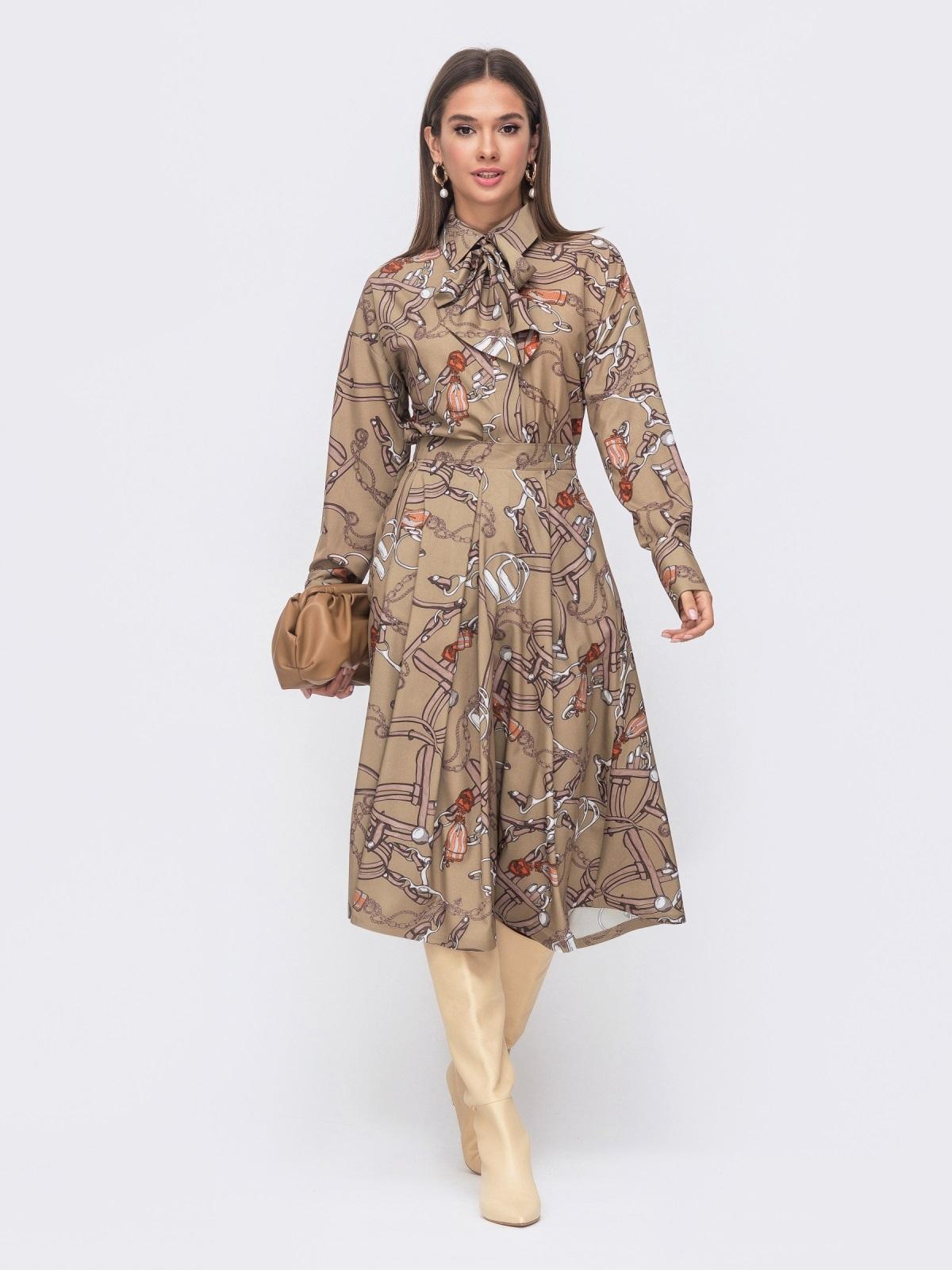 Расклешенная юбка-миди с принтом бежевая 51174, фото 1