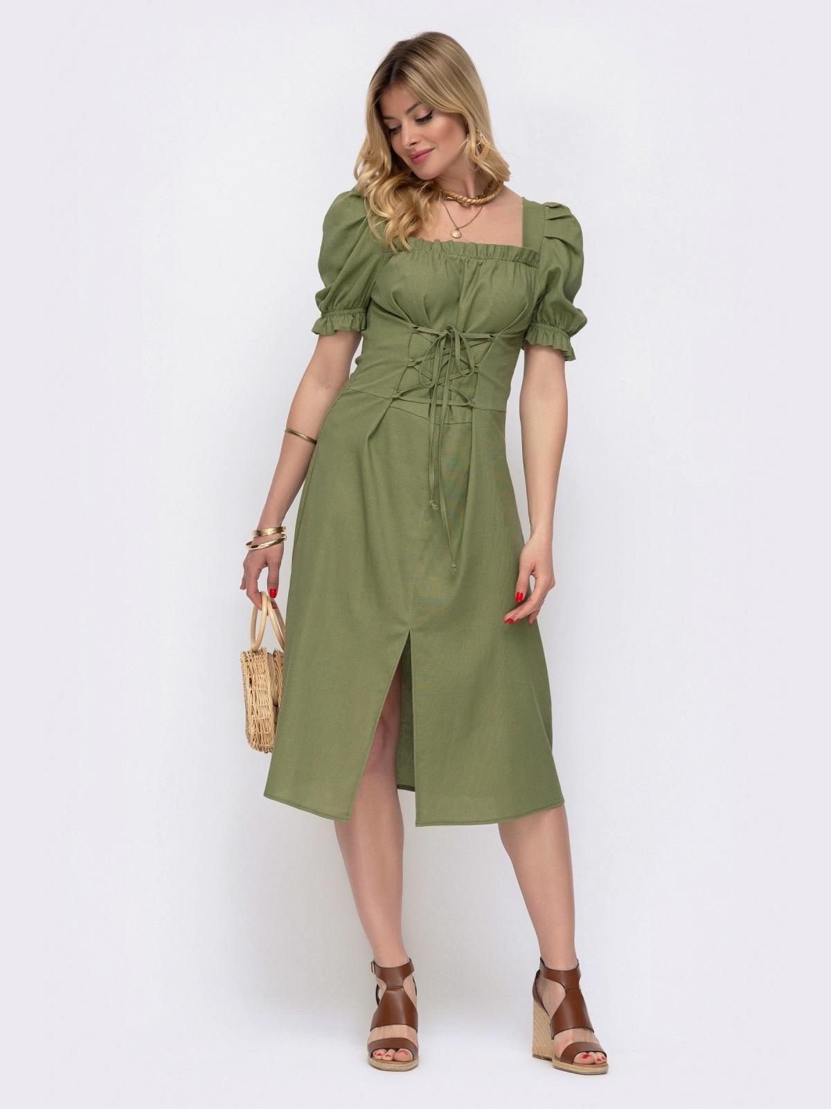 """Льняное платье цвета хаки с рукавом """"фонарик"""" 48083, фото 1"""