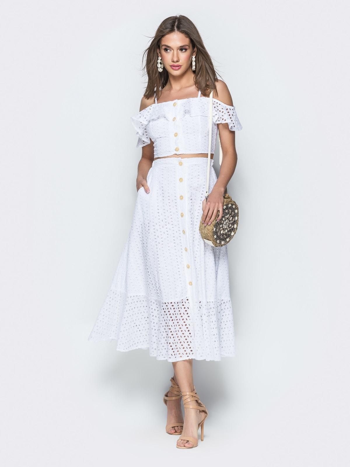 Хлопковый комплект из топа и юбки-полусолнце белый 38600, фото 1