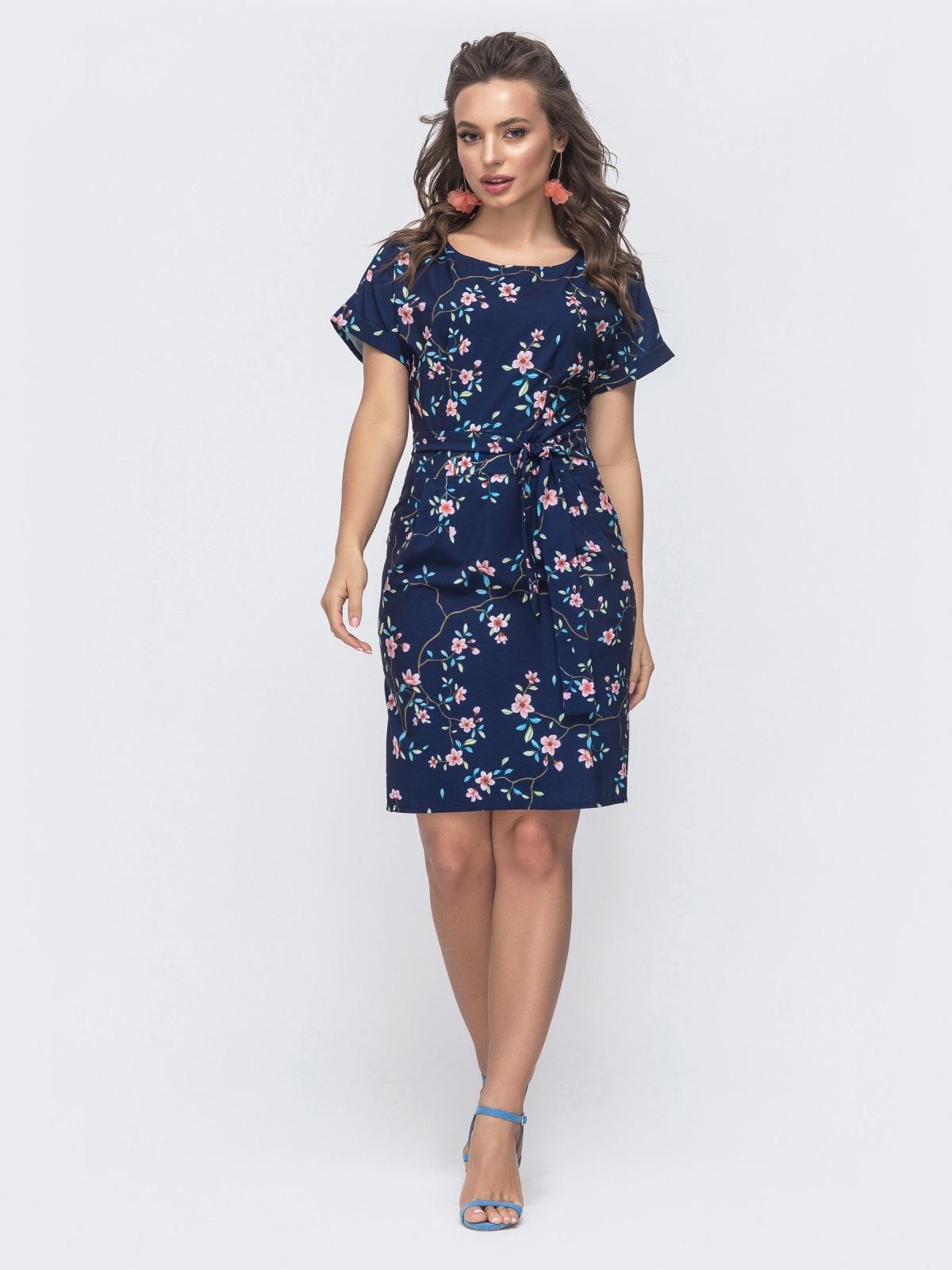 Приталенное платье с принтом и цельнокроеным рукавом тёмно-синее 47300, фото 1