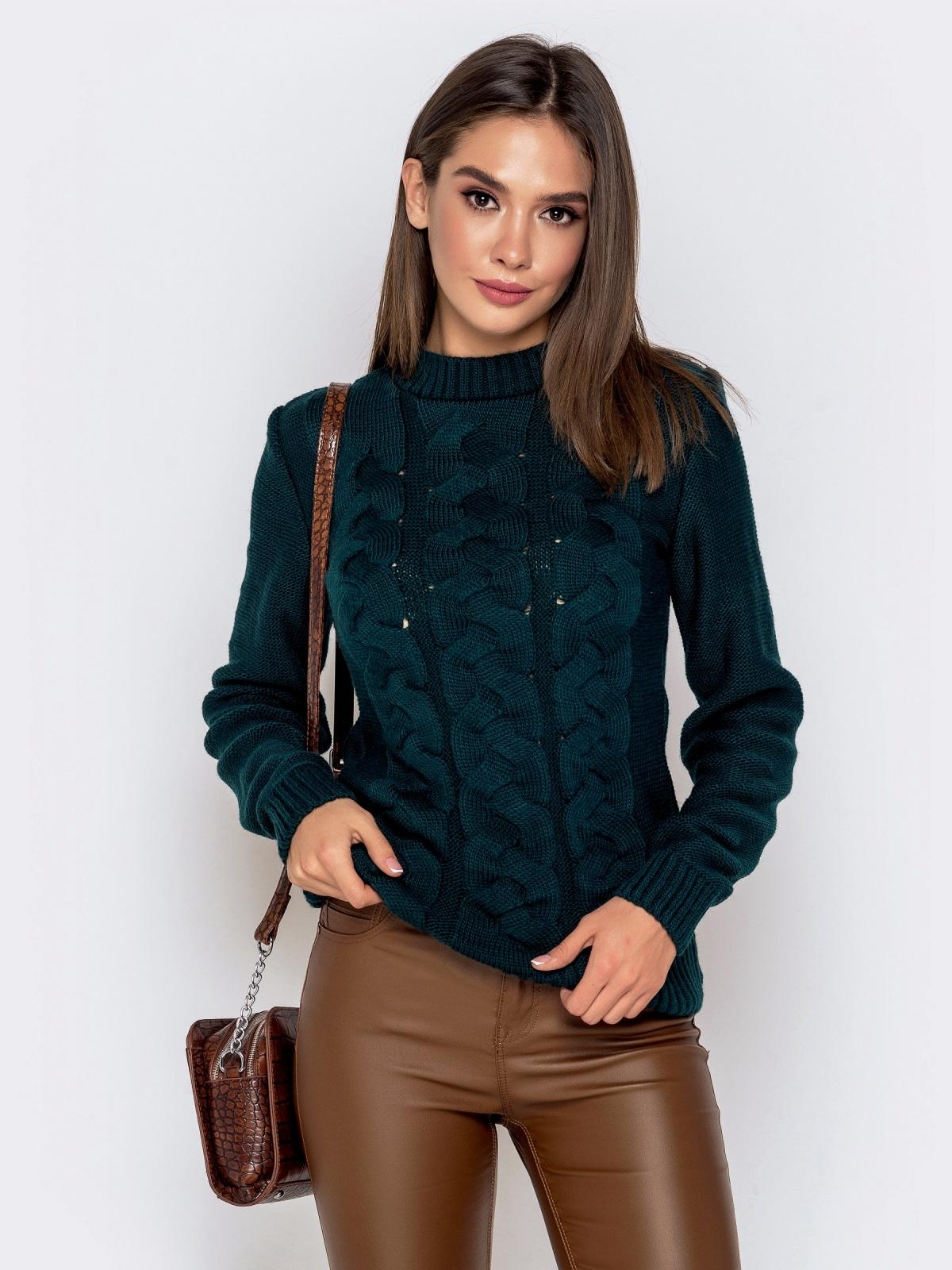 """Зеленый свитер с узором """"косы"""" 41070, фото 1"""