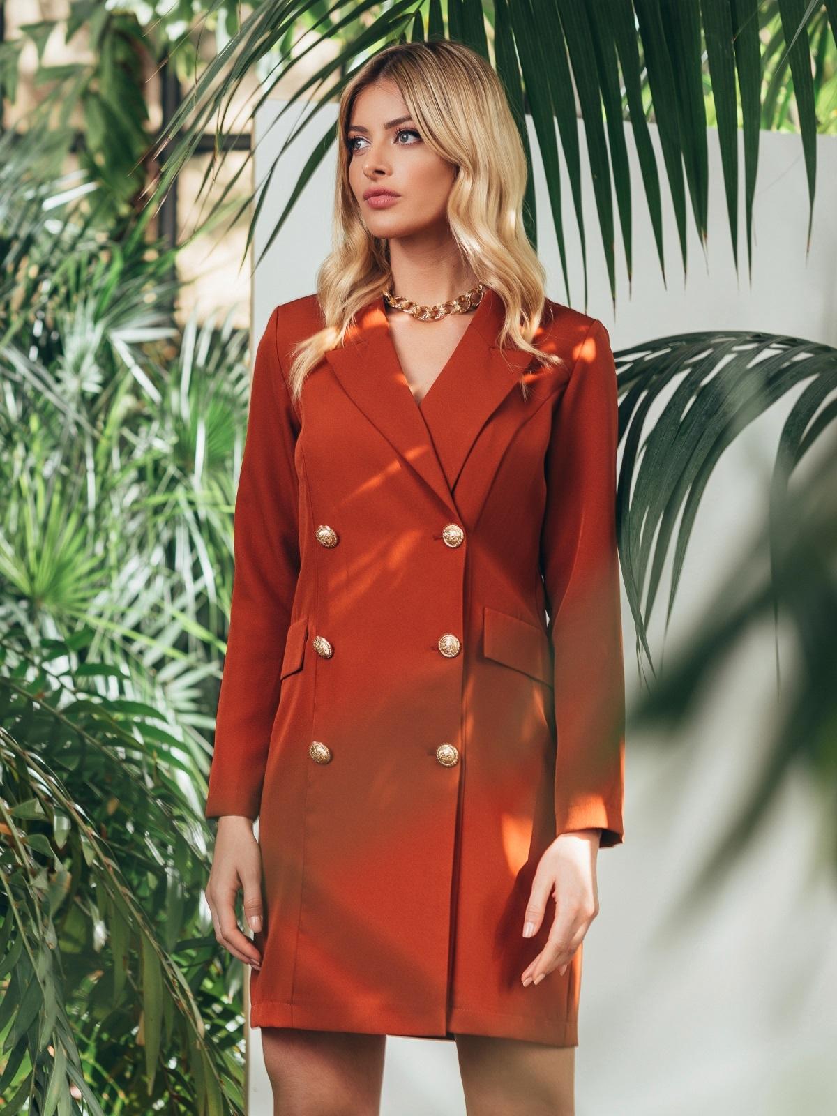 Двубортное платье-пиджак терракотового цвета 45560, фото 1