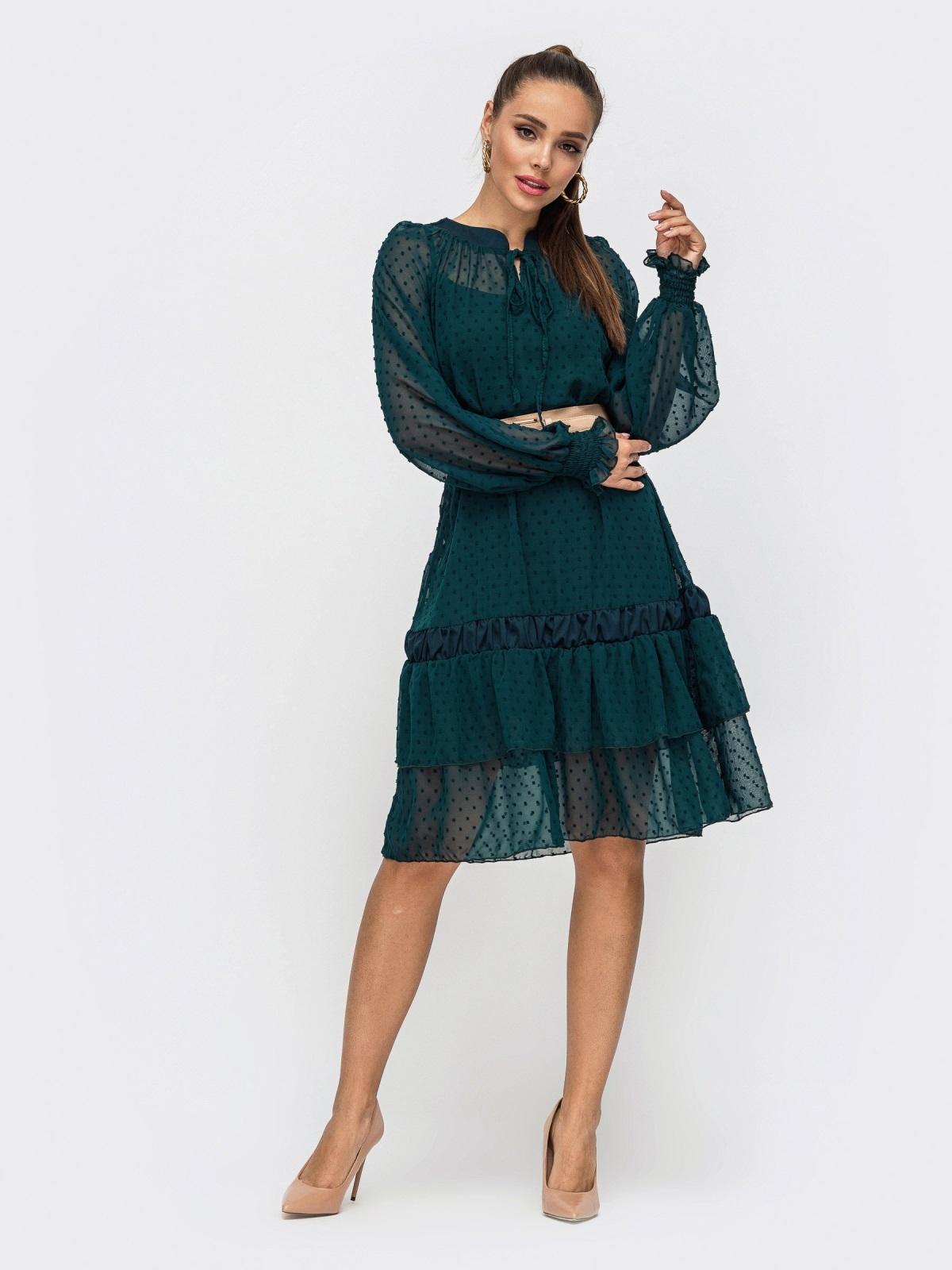 Зеленое платье из шифона с воланом по низу 50801, фото 1