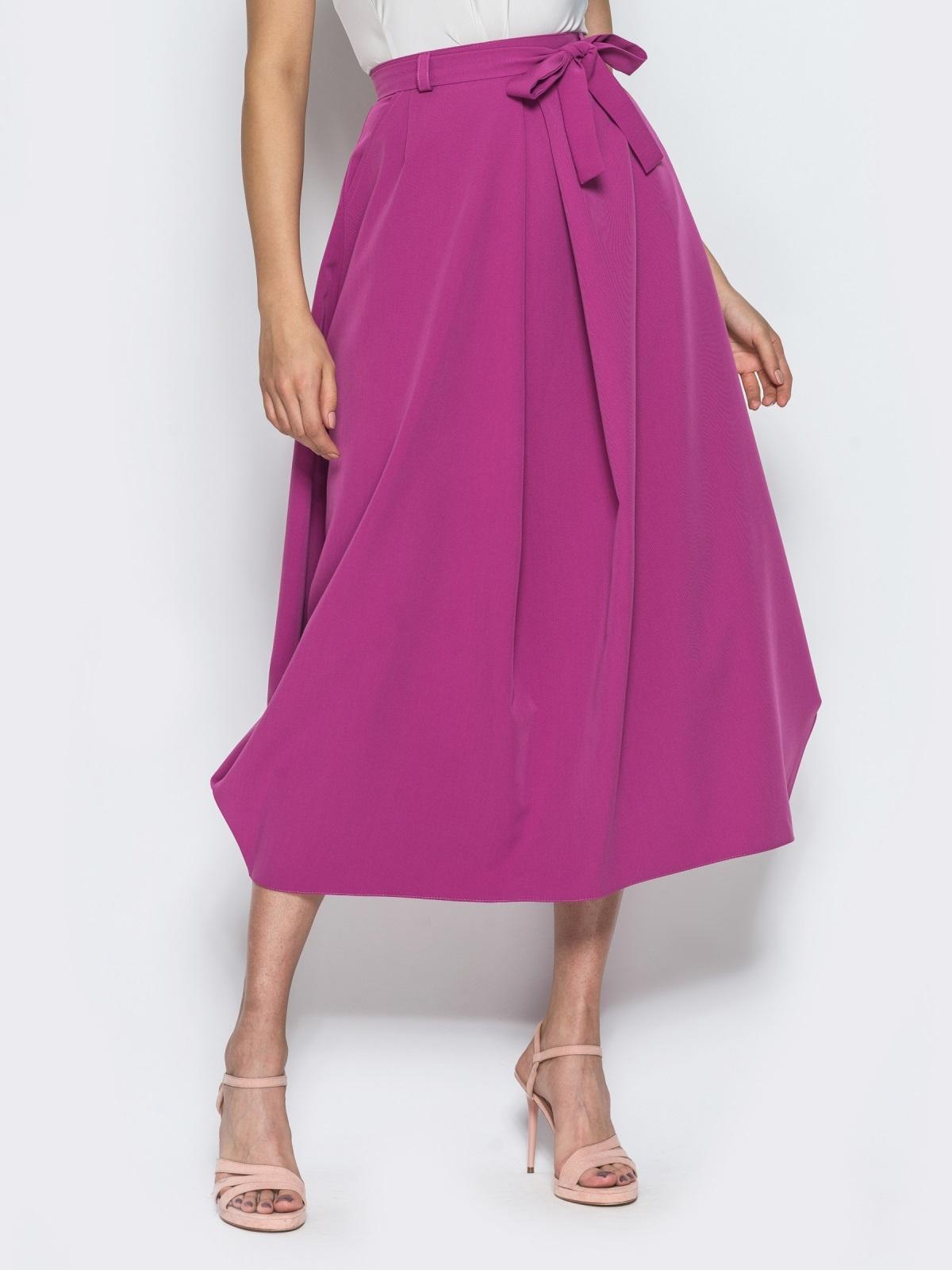 Юбка-миди свободного кроя с карманами в швах розовая 14381, фото 1