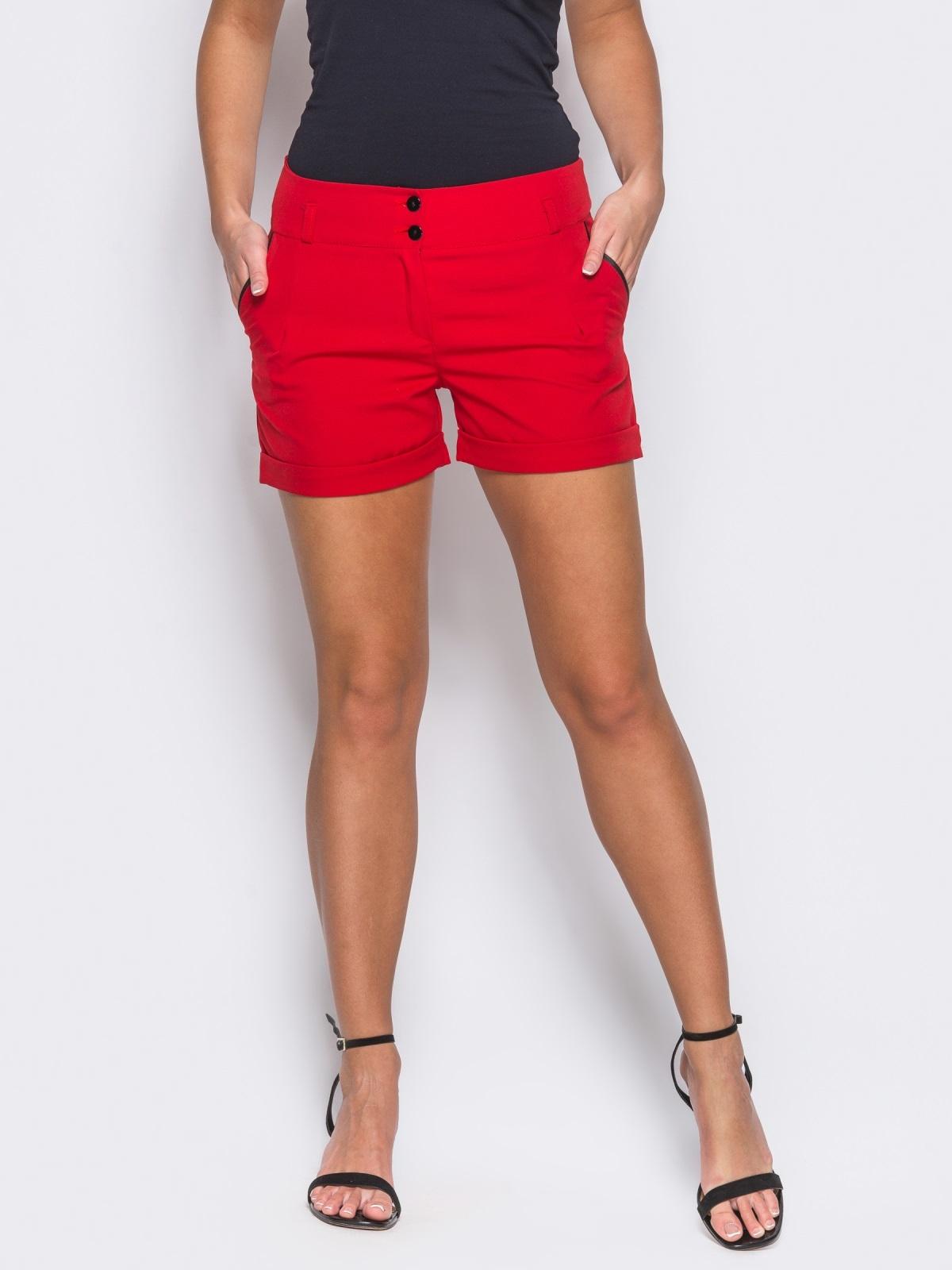 Красные шорты на молнии с карманами по бокам 12119, фото 1