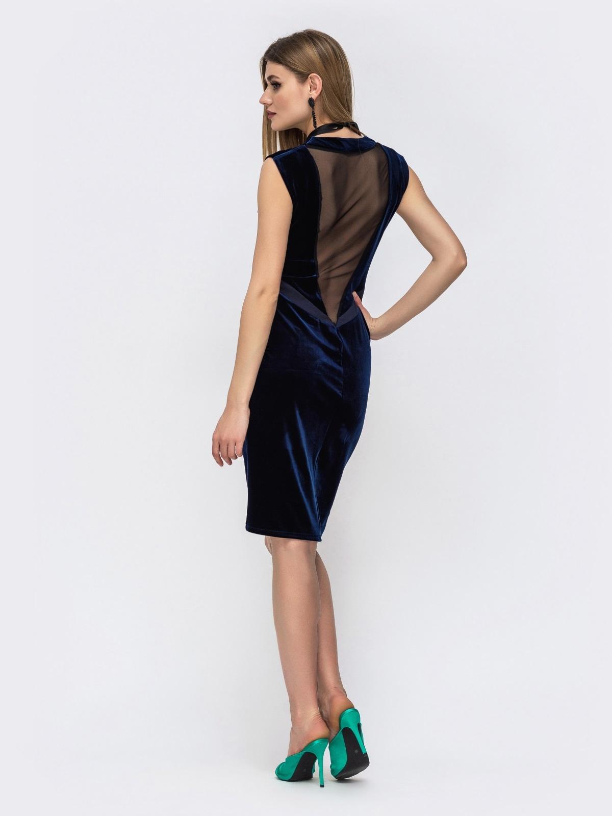 Платье из велюра с вырезом по спинке и фатином тёмно-синее 42850, фото 1