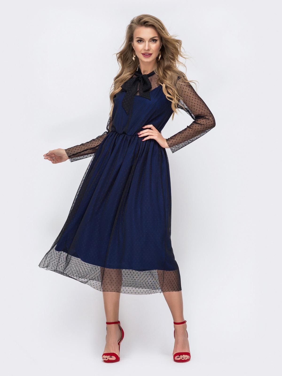 Синее платье из фатина в горох с воротником-аскот 43060, фото 1