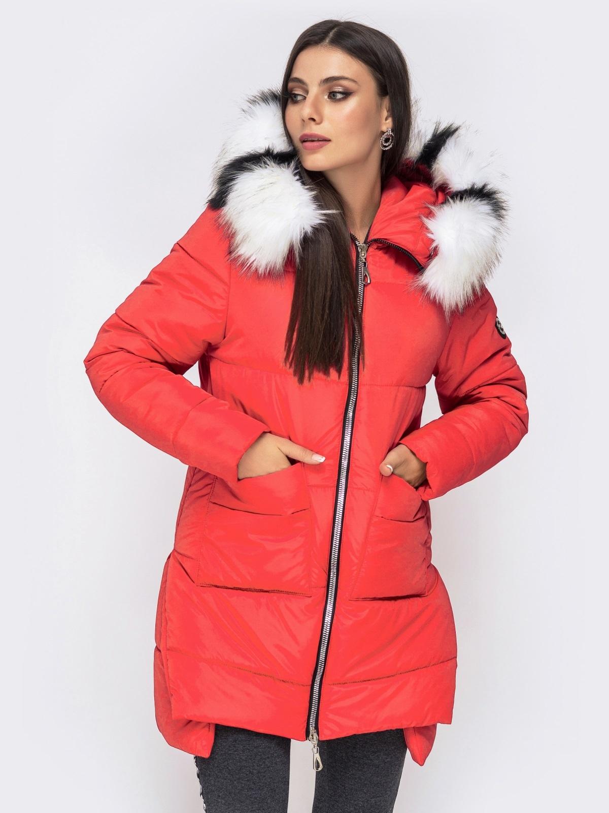 Зимняя куртка с удлиненной спинкой и капюшоном красная 41520, фото 1