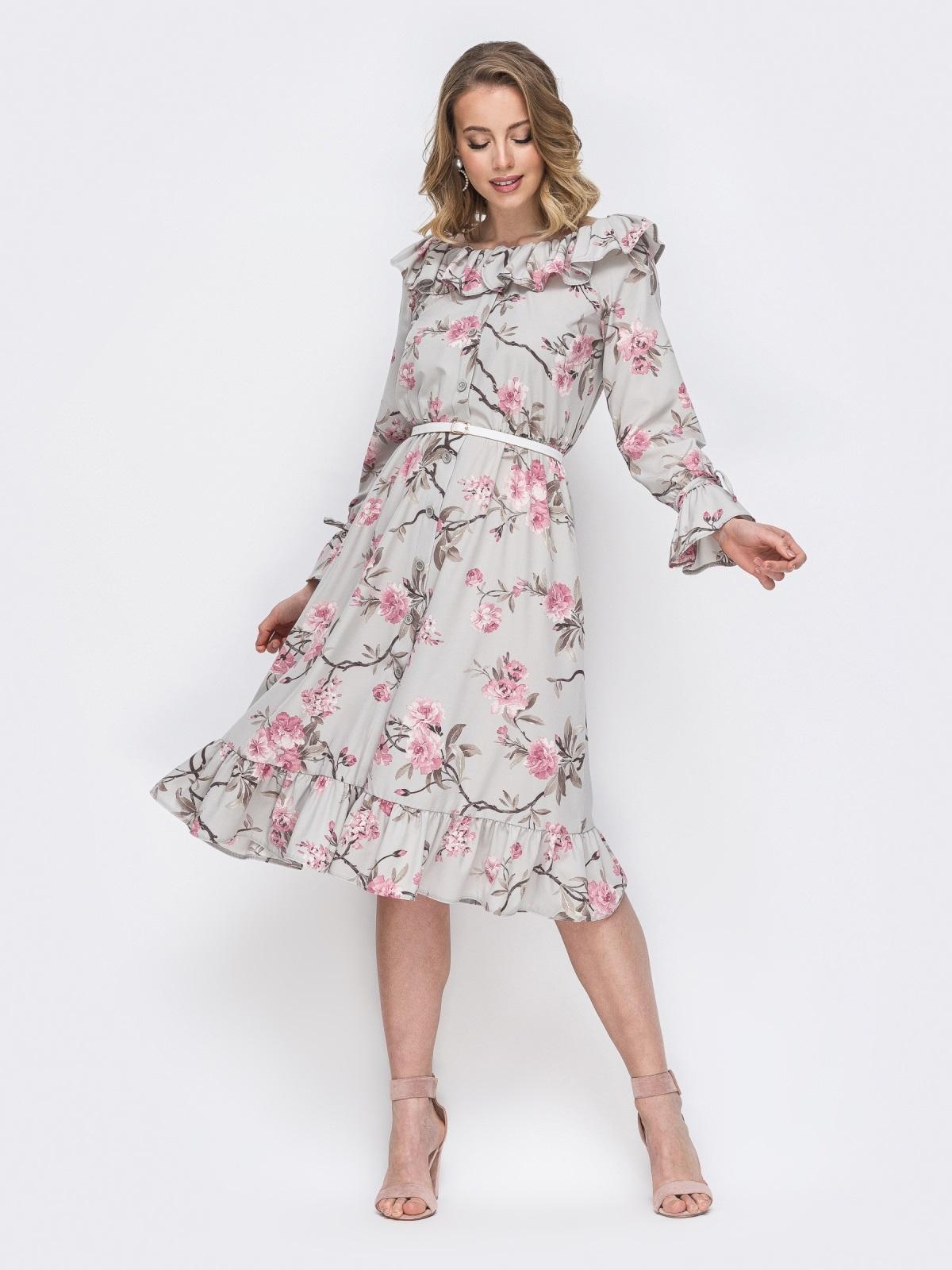 Платье с принтом и воланом по вырезу серое 45552, фото 1
