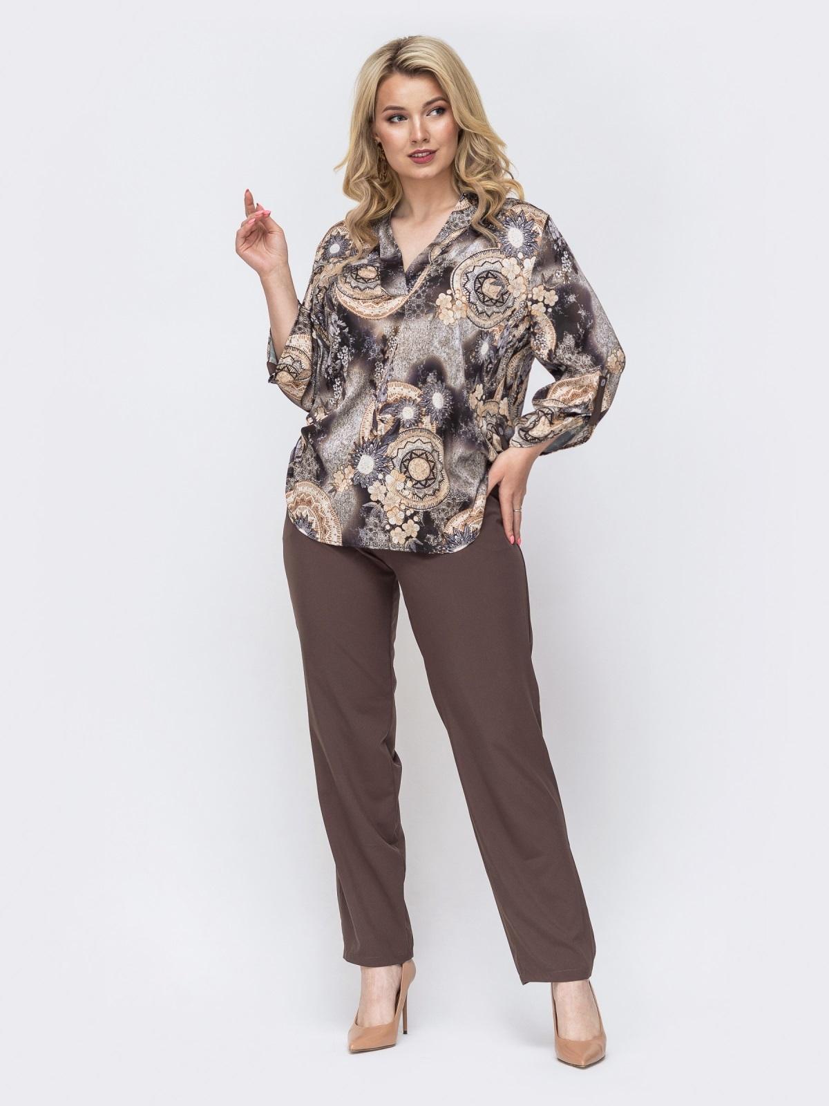 Брючный комплект батал с принтованной блузкой коричневый 49967, фото 1