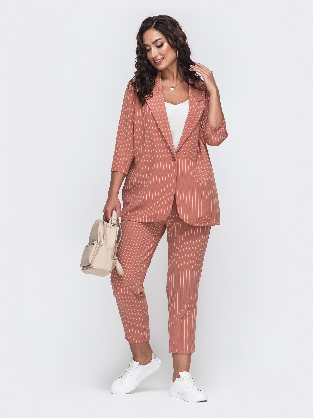 Комплект из жакета и брюк большого размера розовый 49810, фото 1