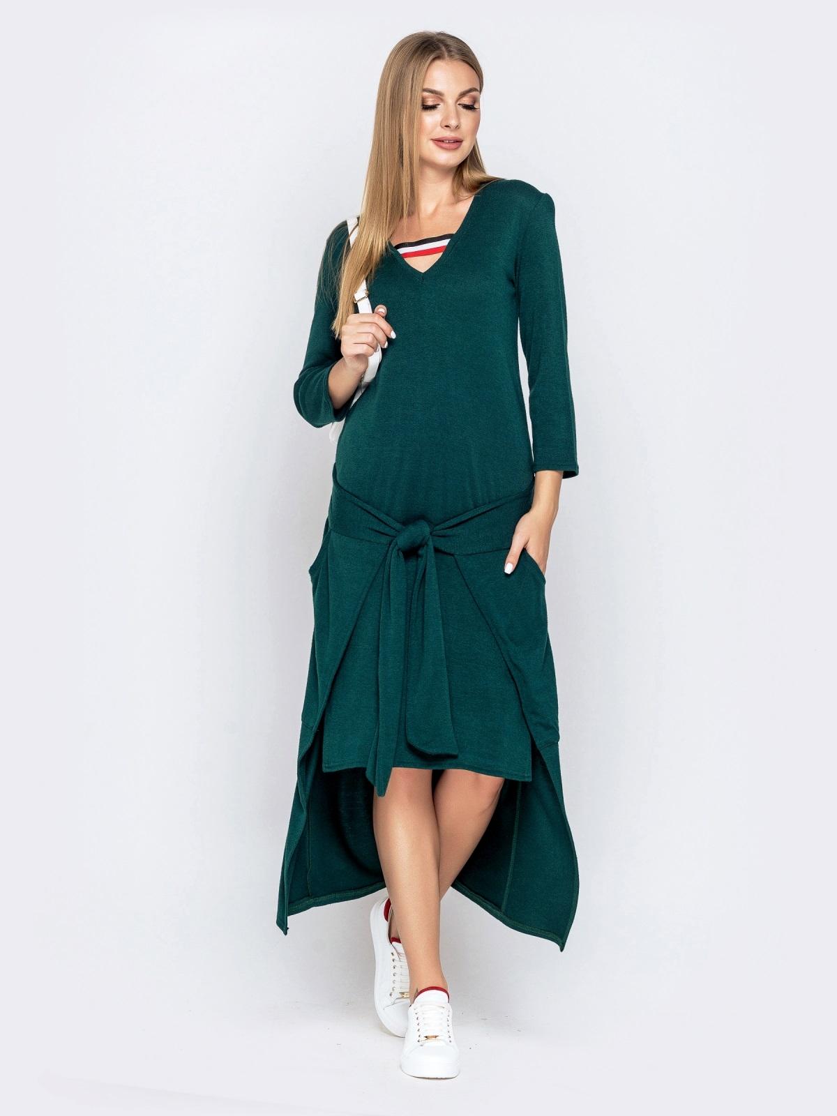 Платье со шлейфом и накладными карманами зеленое 41029, фото 1