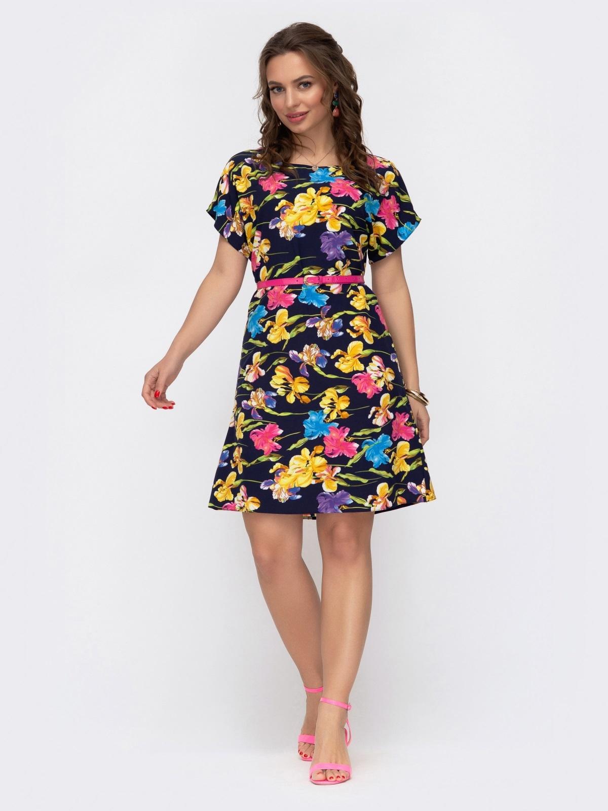 Расклешенное платье с цветочным принтом темно-синее 46931, фото 1