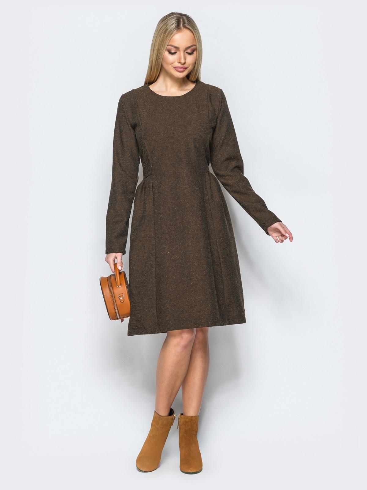 Платье кофейного цвета с молнией на спинке 17467, фото 1