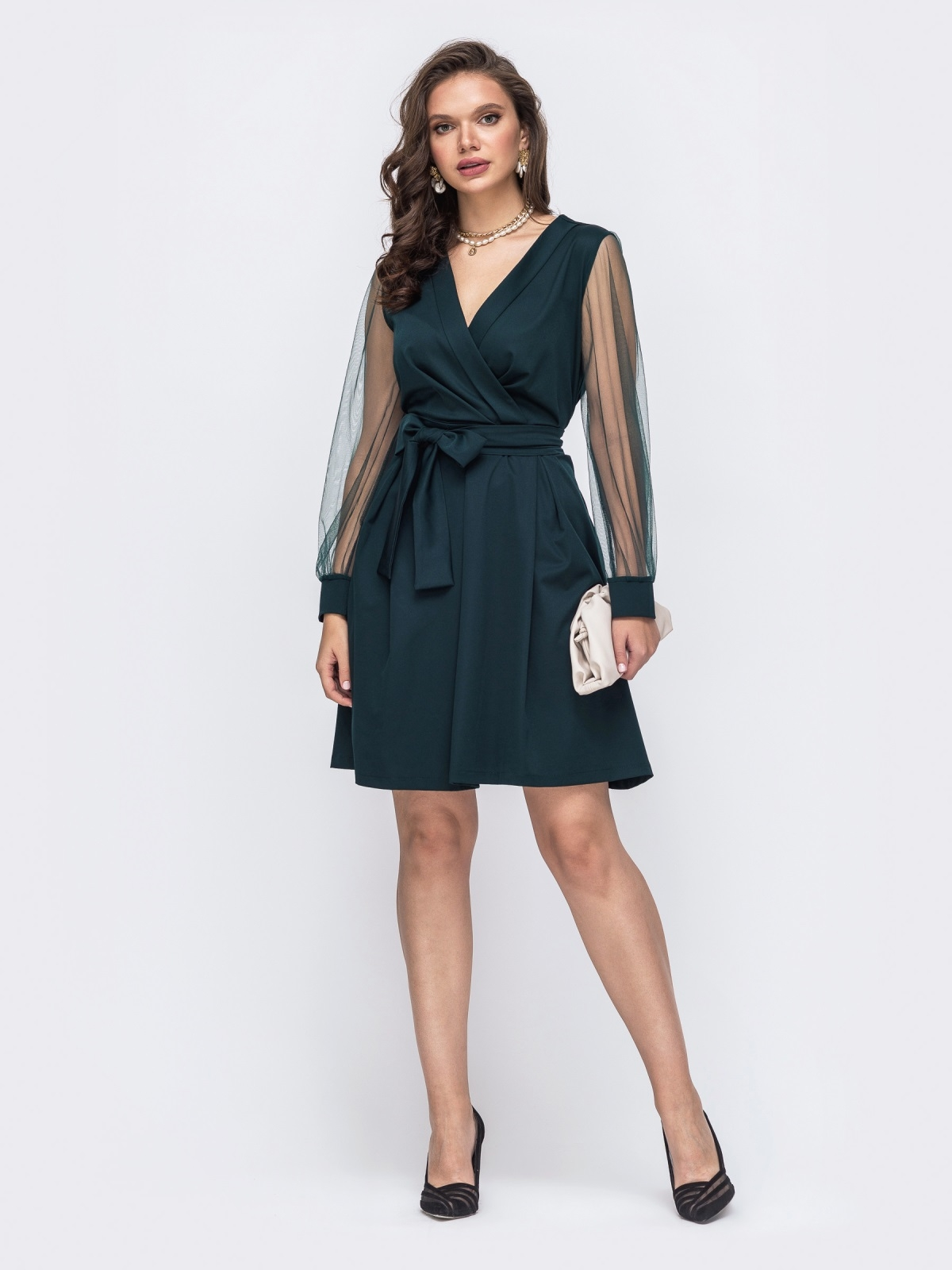 Расклешенное платье батал с рукавами из фатина зеленое 51322, фото 1