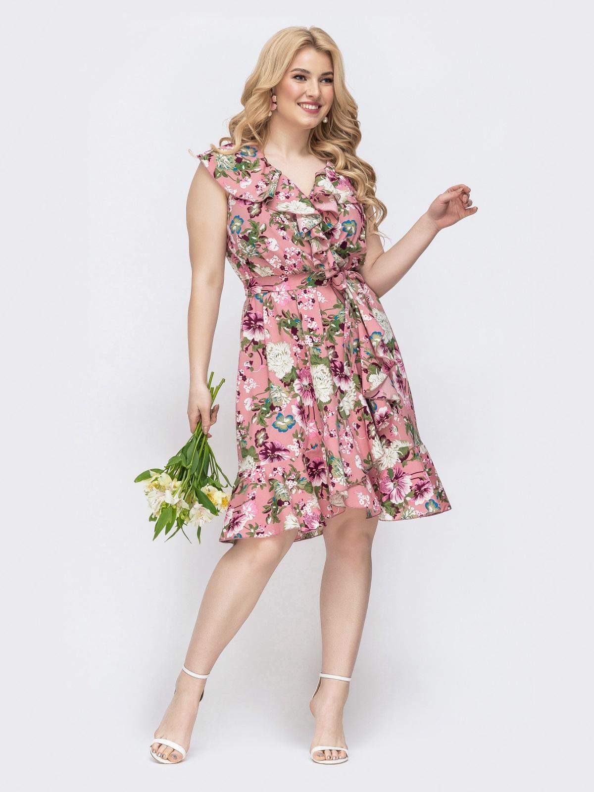 Розовое платье батал с принтом и оборкой по вырезу 46253, фото 1
