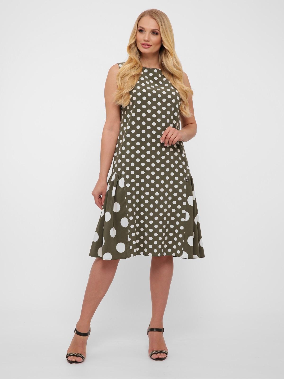 Платье большого размера цвета хаки в крупный горох  48571, фото 1