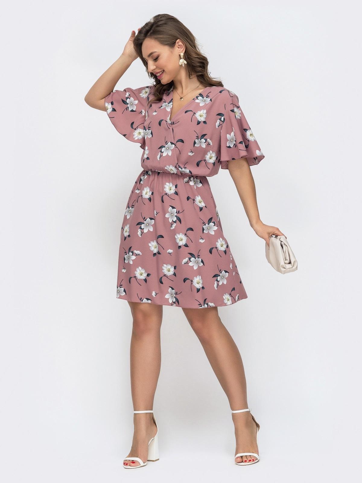 Пудровое платье с принтом и резинкой по талии 46838, фото 1