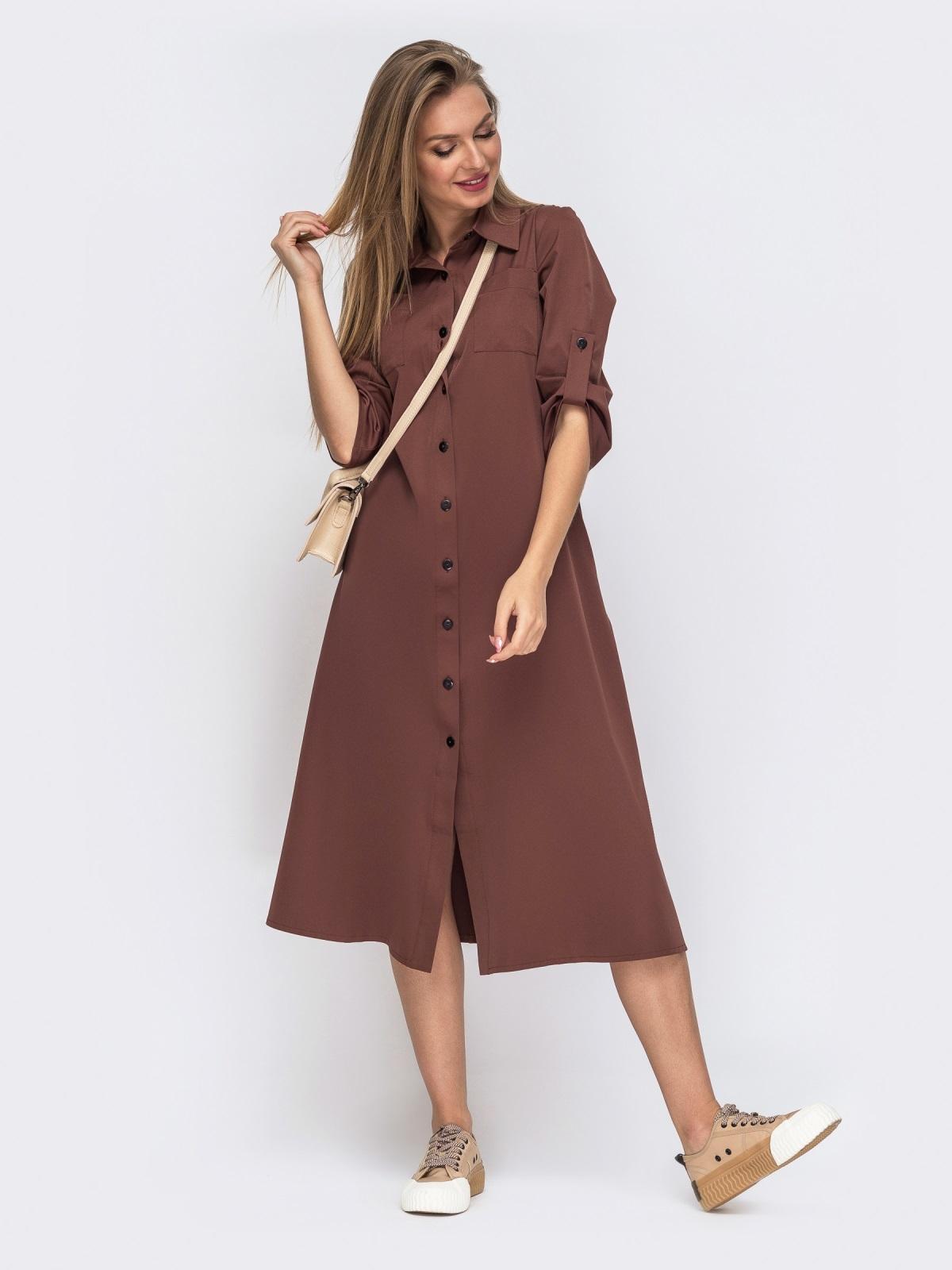 Терракотовое платье-рубашка с накладными карманами 51043, фото 1