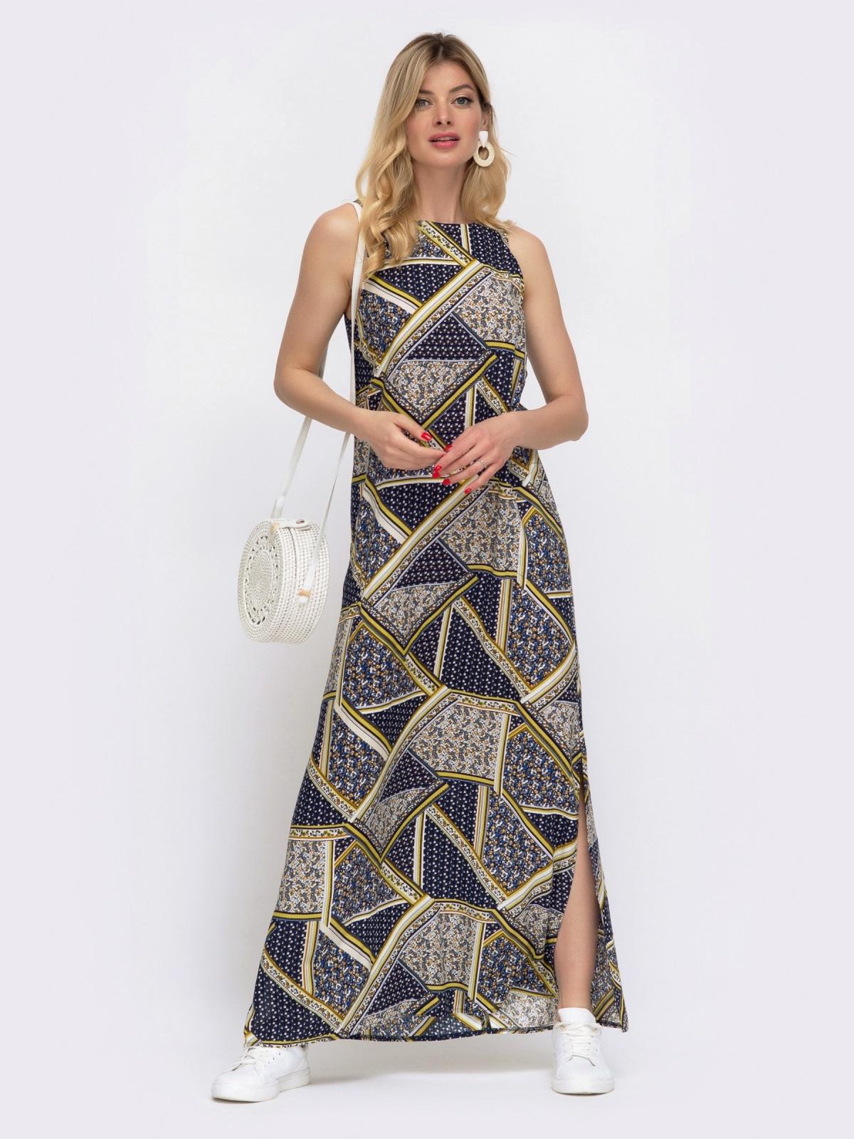 Принтованное платье-макси из штапеля с высокими разрезами по бокам 48039, фото 1