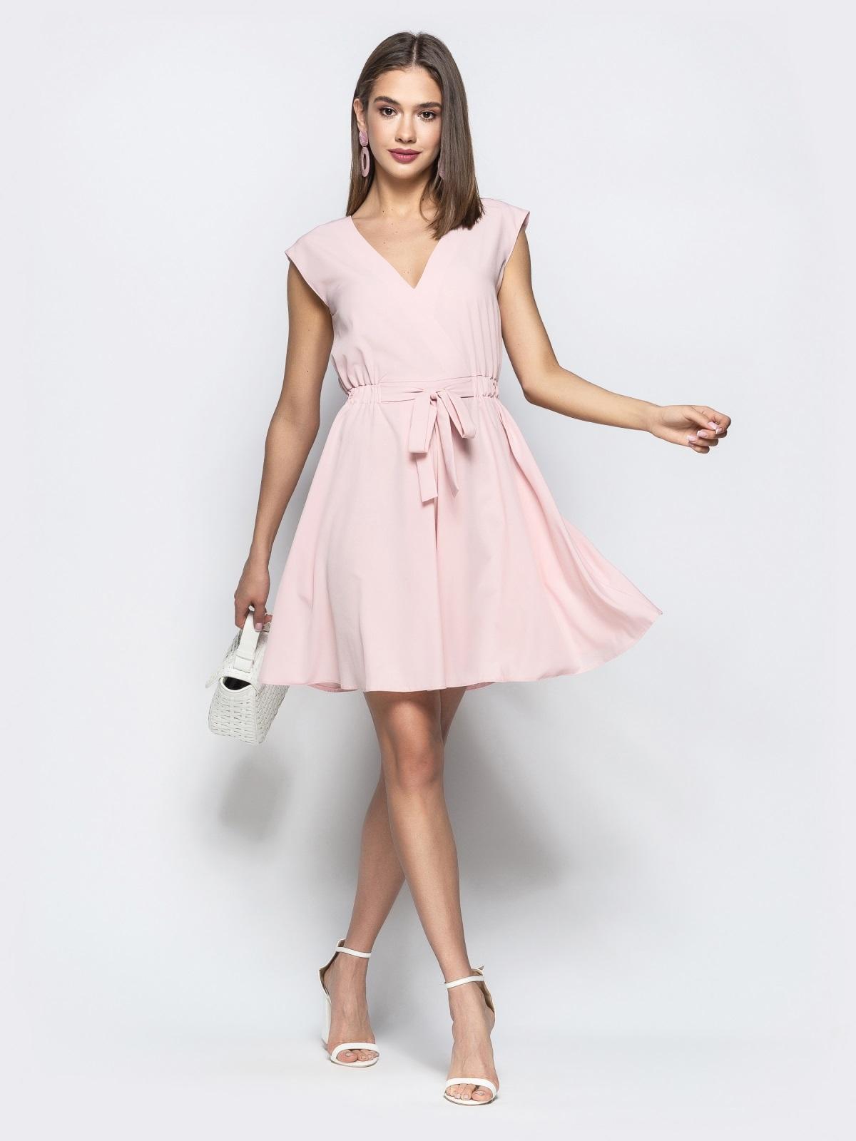 Пудровое платье с юбкой-солнце и кулиской по талии 21728, фото 1
