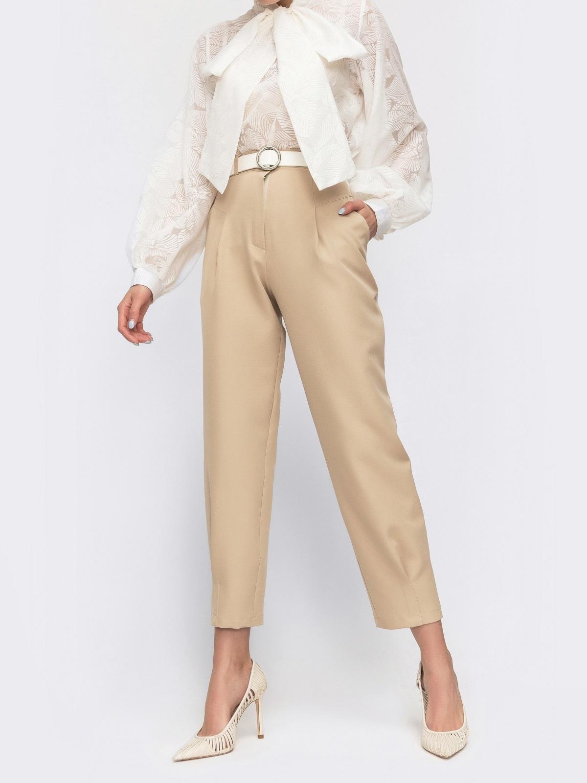 Бежевые брюки с завышенной талией 45803, фото 1