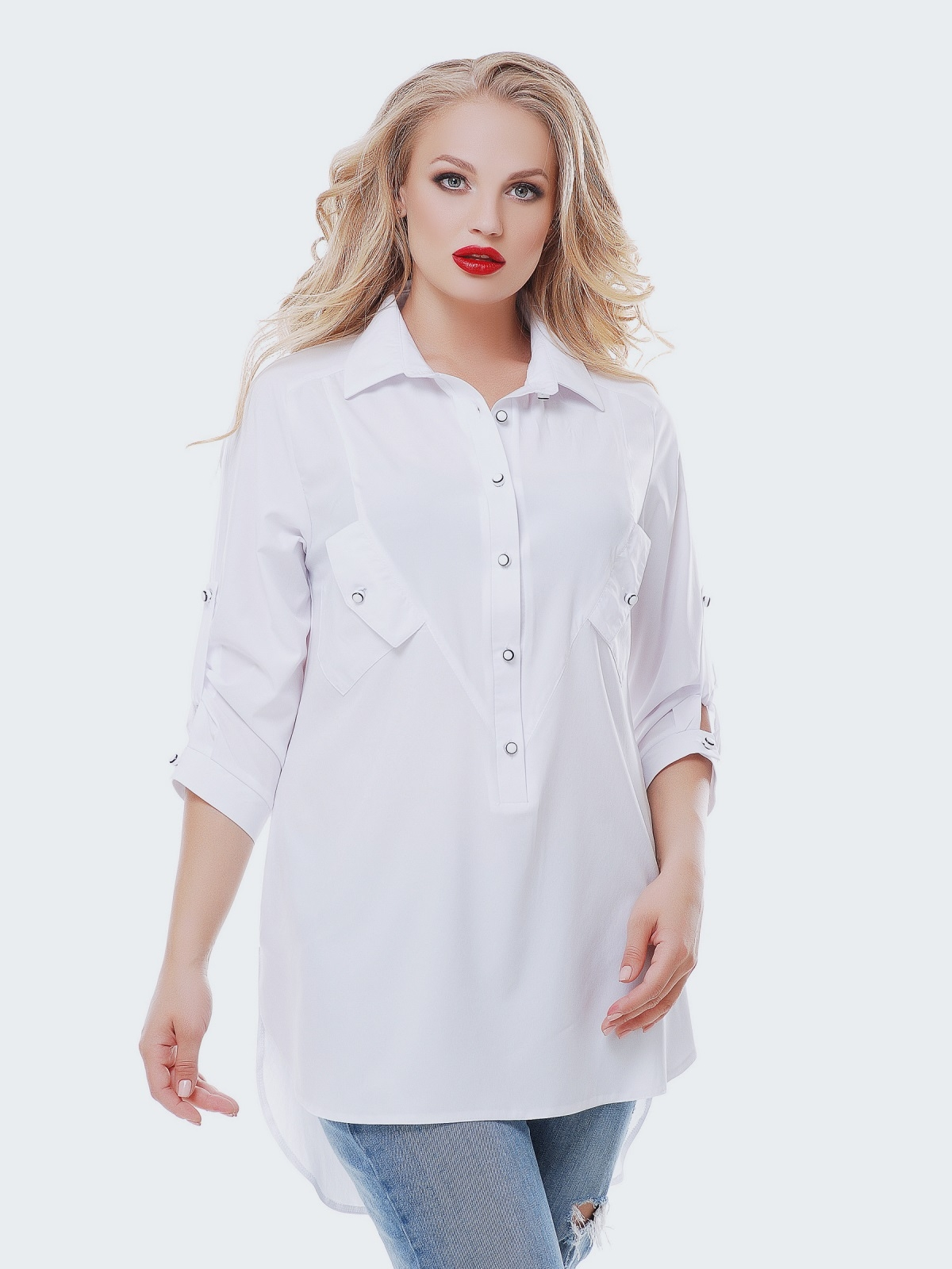 Удлиненная рубашка из софта со шлейфом белая 37042, фото 1